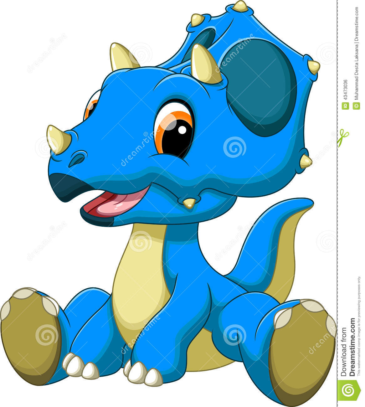 cute baby triceratops cartoon stock illustration image