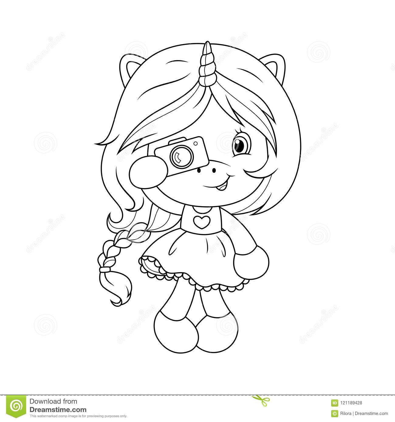 Cute Baby Unicorn With Camera Coloring Page For Girls