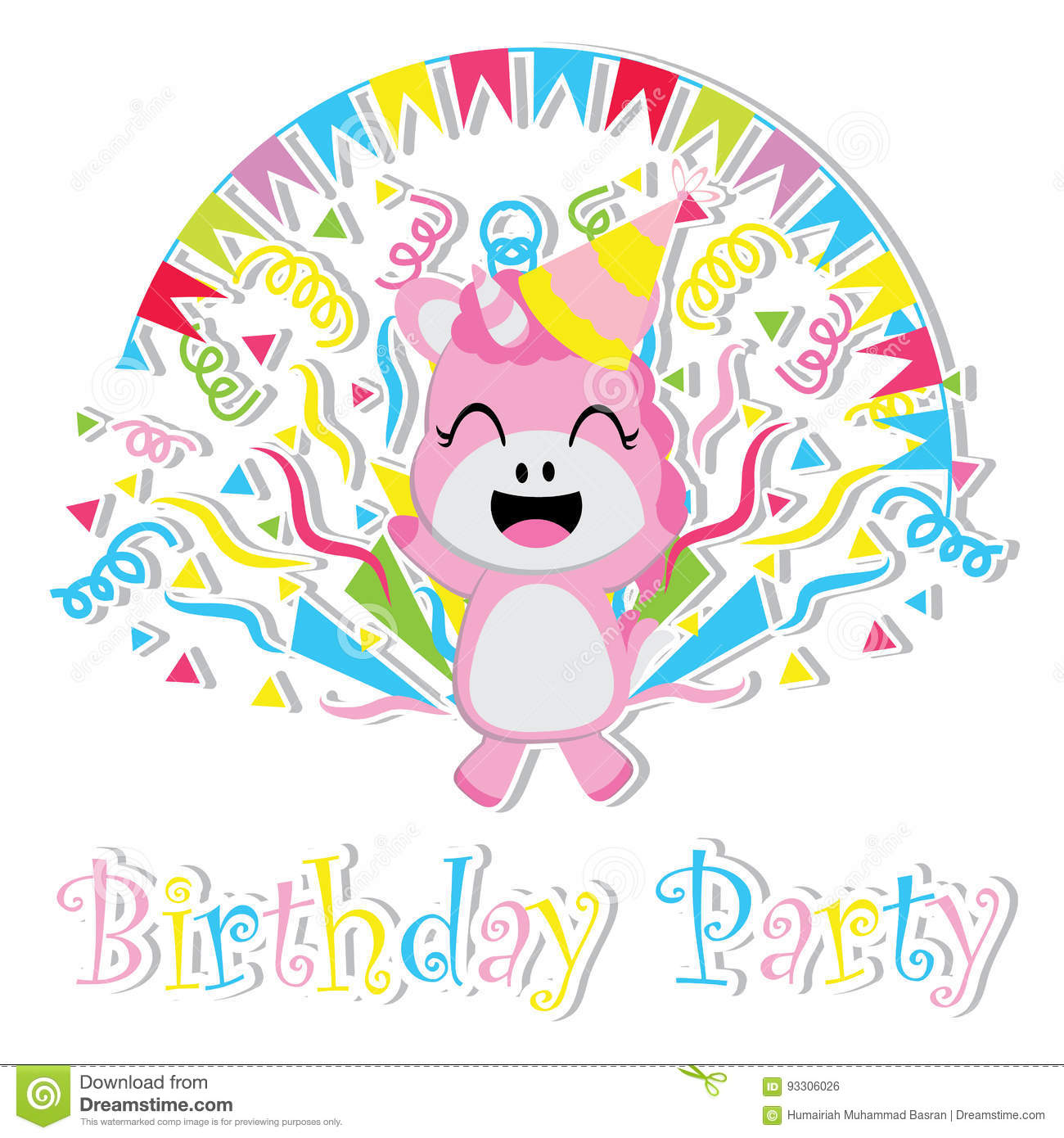 Cute Baby Unicorn Is Happy Cartoon Birthday Postcard Wallpaper And Greeting Card T Shirt Design For Kids