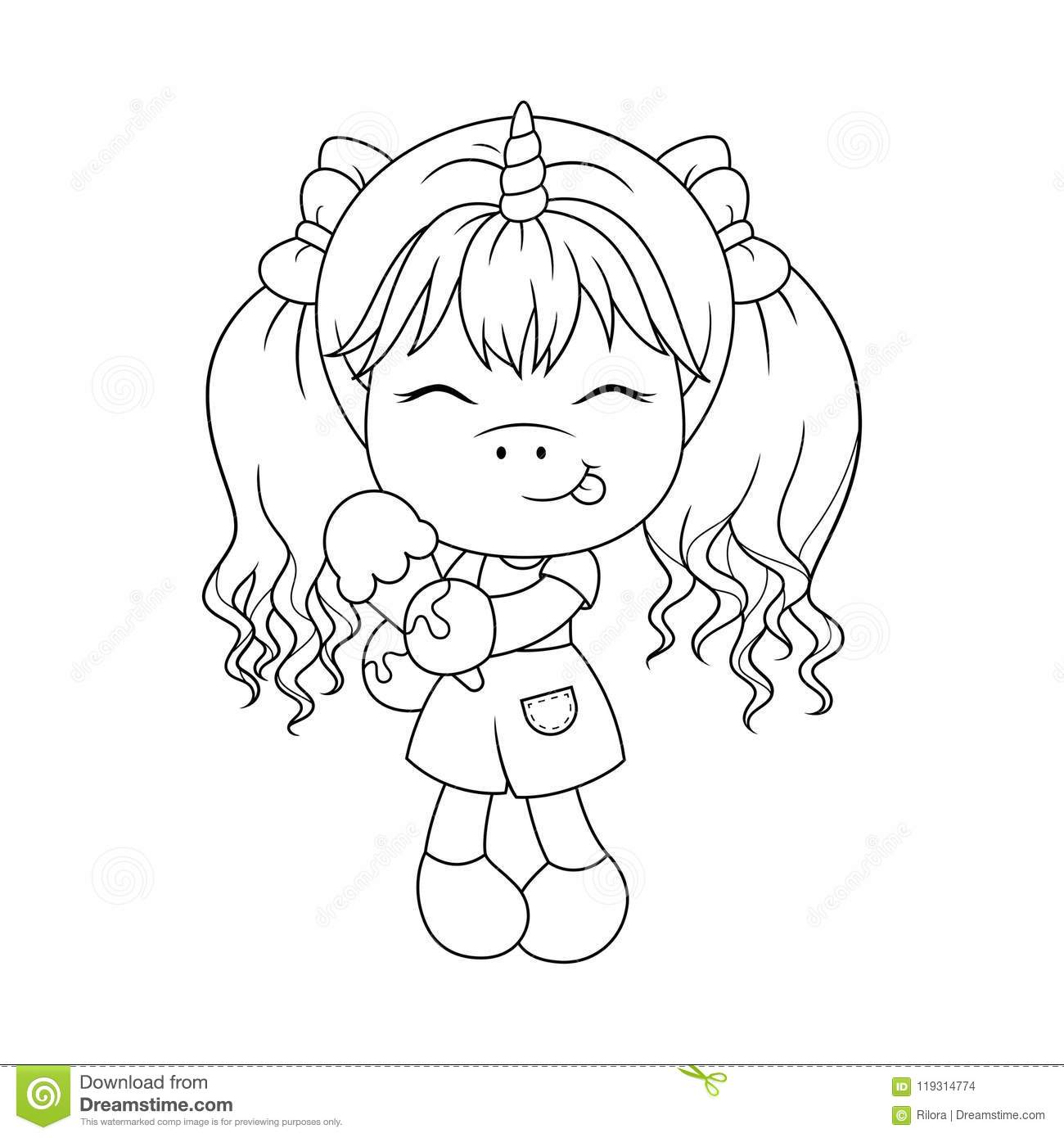 Cute Baby Unicorn Holding Ice Cream, Coloring Page For ...