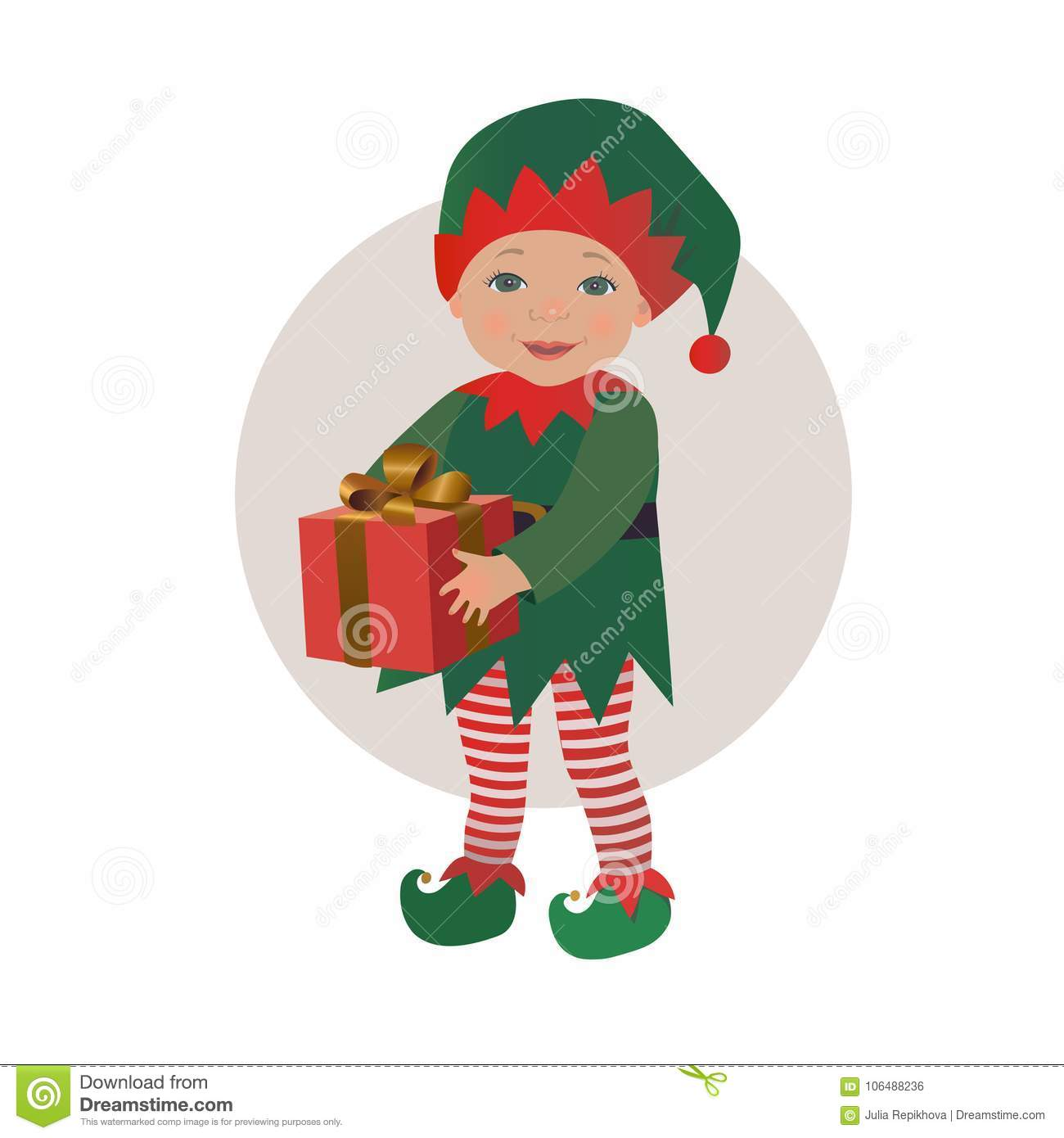 f9b568b9429 Cute Baby Wearing Christmas Elf Costume Holding Gift Box Stock ...