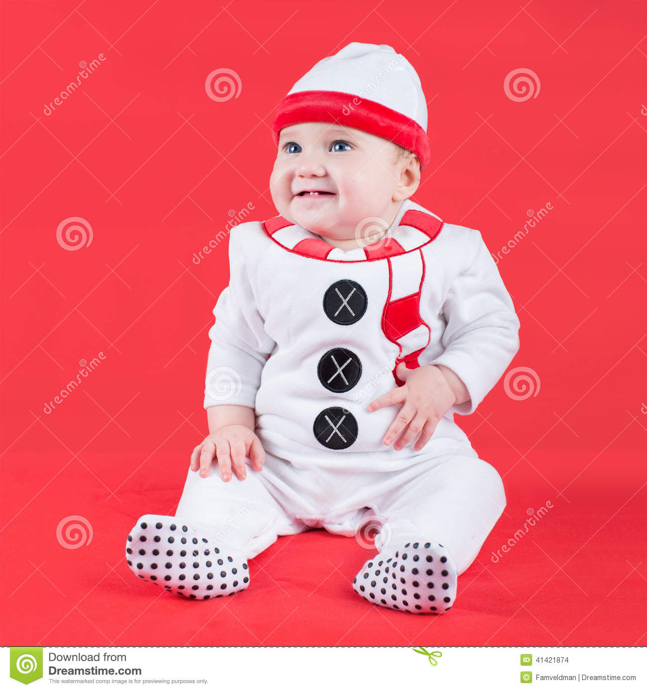 f48358105 Cute Baby Wearing Christmas Snow Man Costume Stock Photo - Image of ...