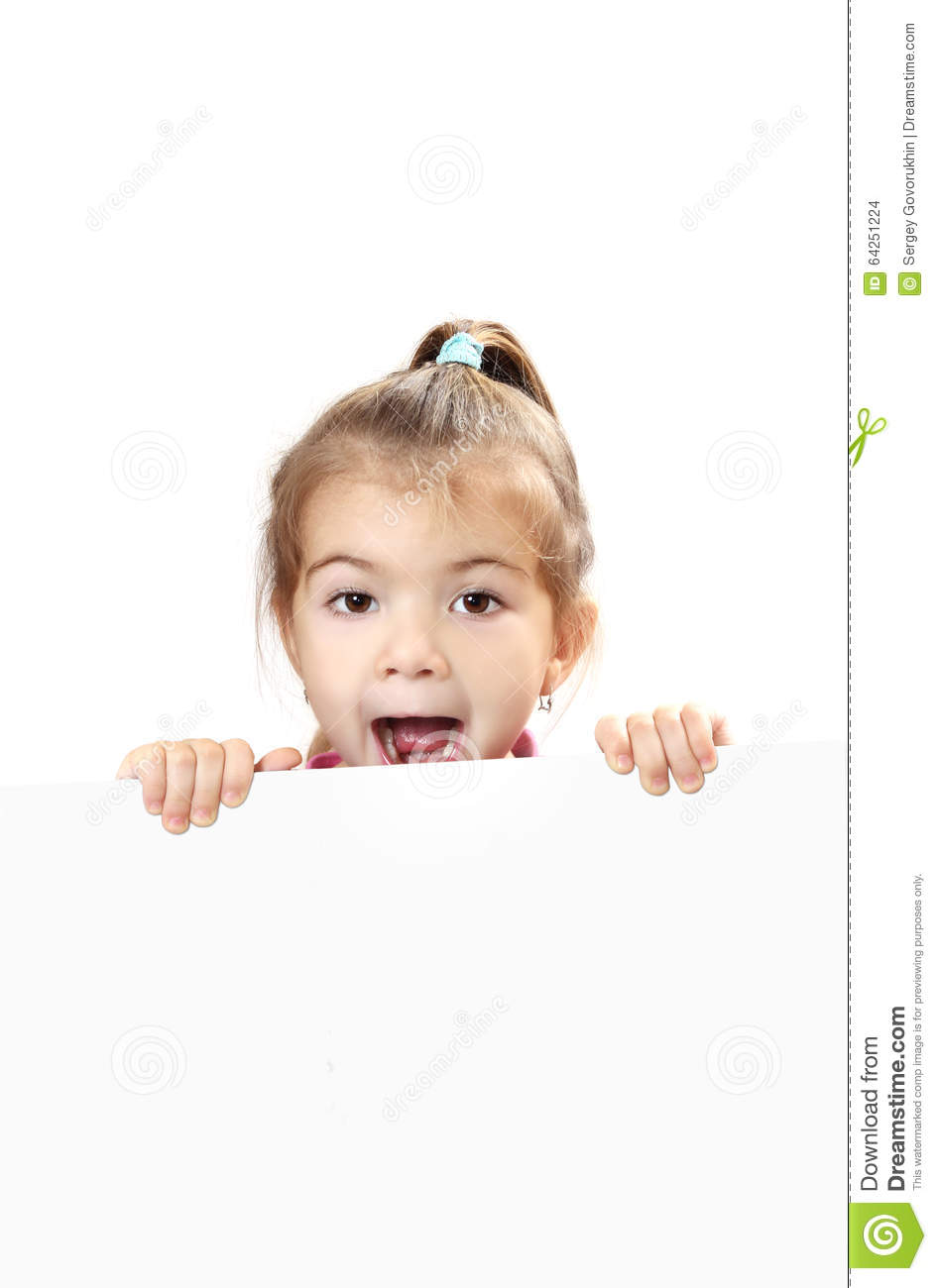 Cute baby with white blank banner isolated