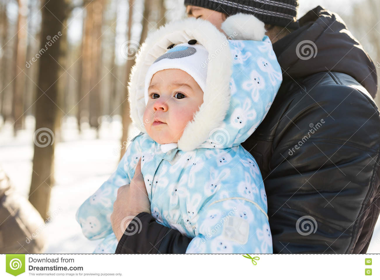 a9c41b8e70e7 Cute Baby At Winter Background Stock Photo - Image of smile ...
