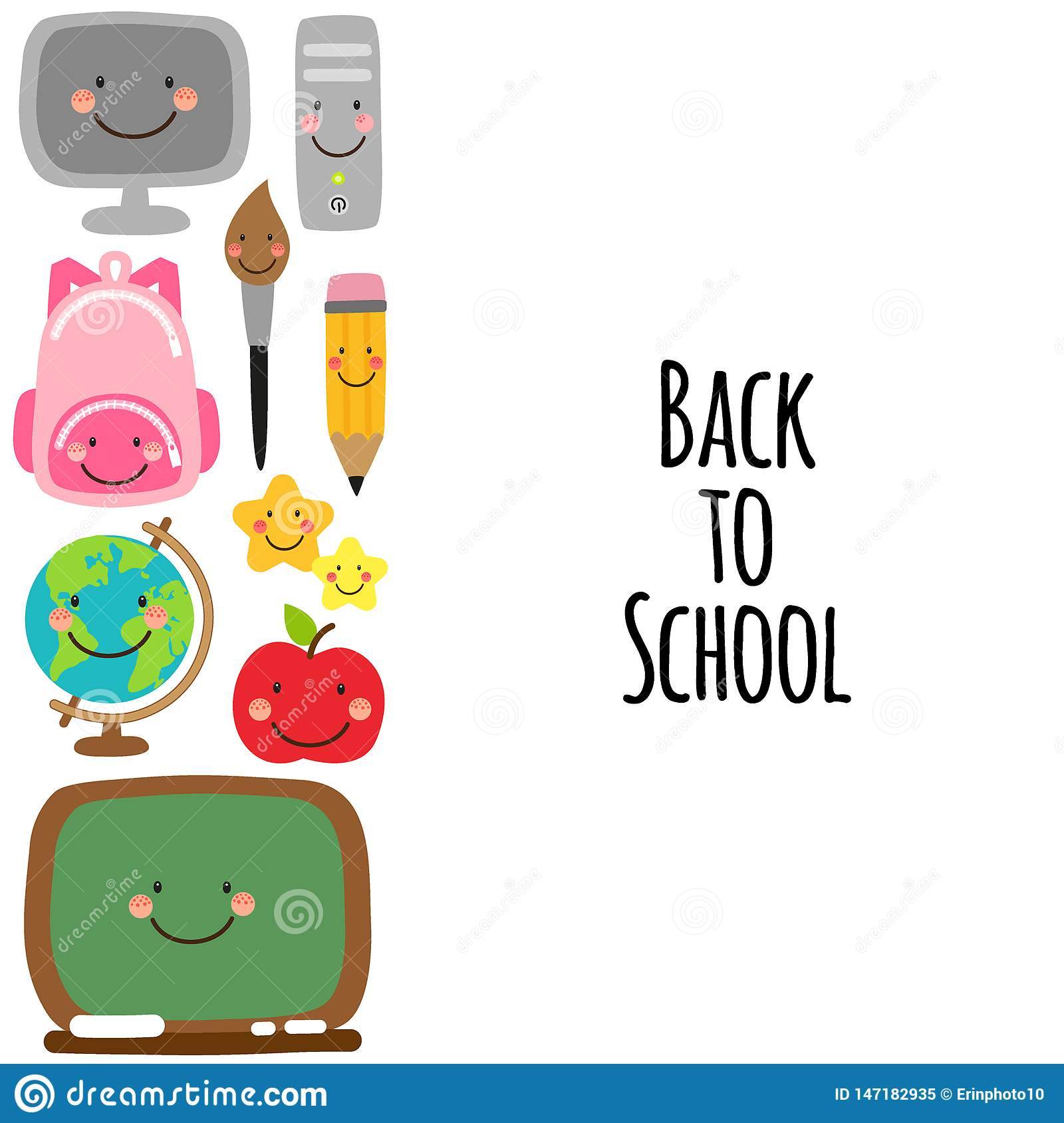 Cute Back To School Banner Design With Colorful Funny ...