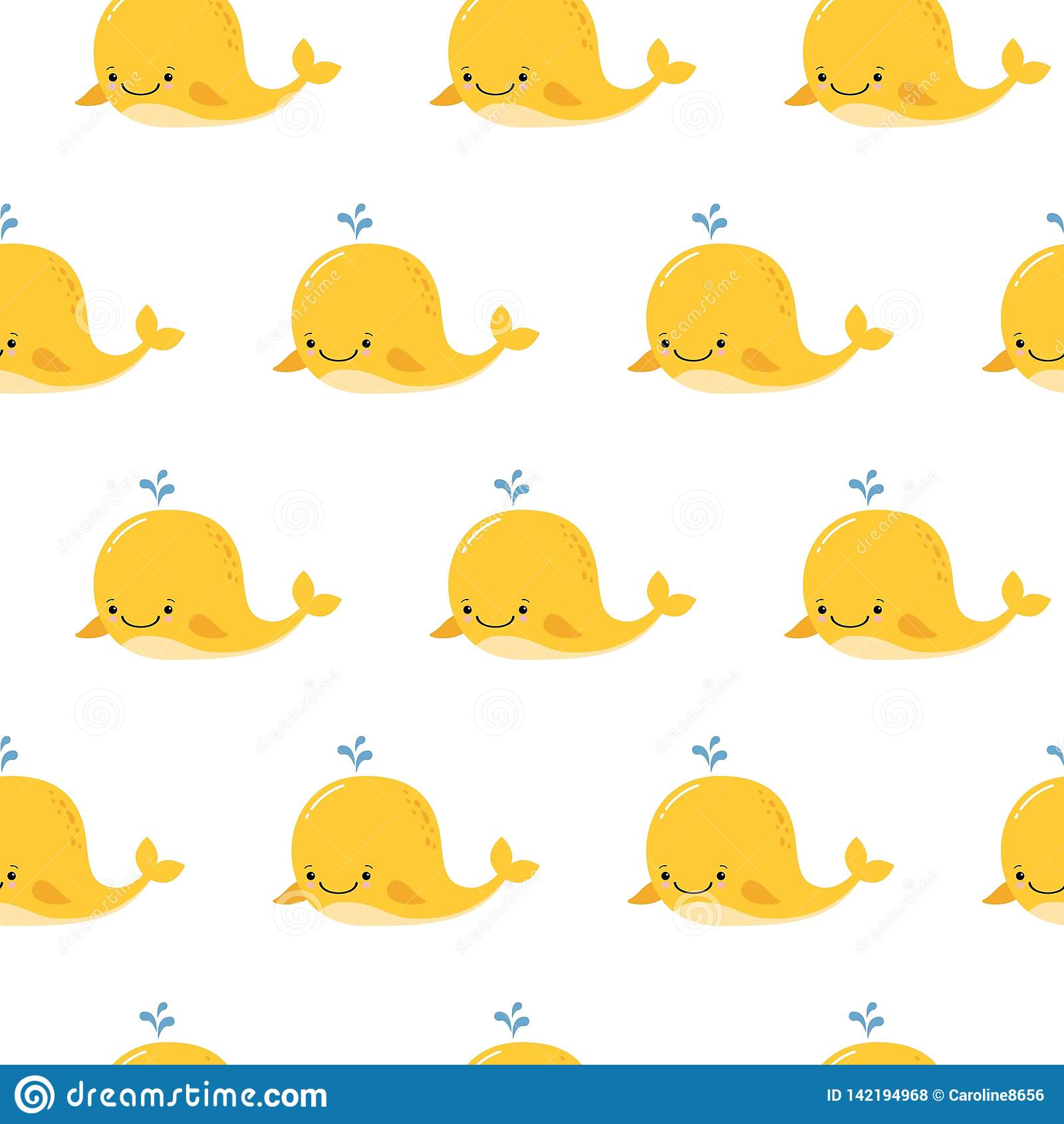 Cute Background With Cartoon Yellow Whales Kawaii Animal Pattern