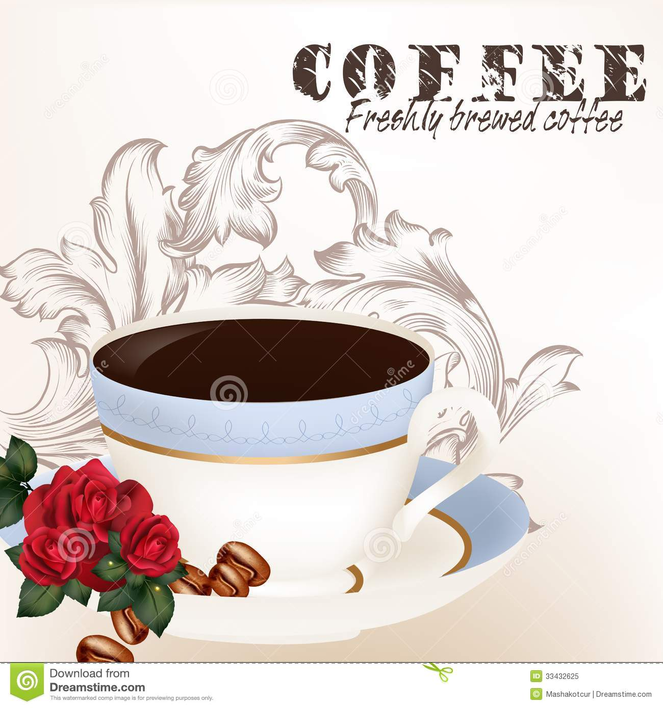 Cute Background With Cup Of Coffee Royalty Free Stock