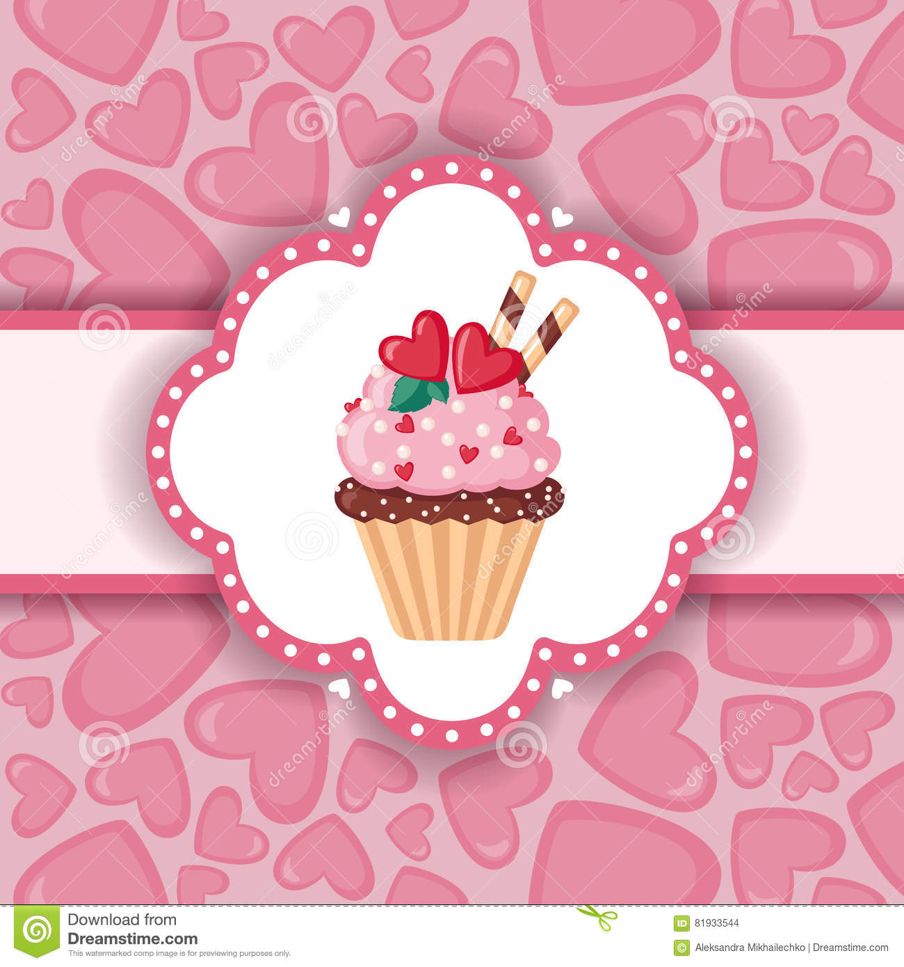 cute background with cupcake and hearts stock vector illustration of flat background 81933544 dreamstime com