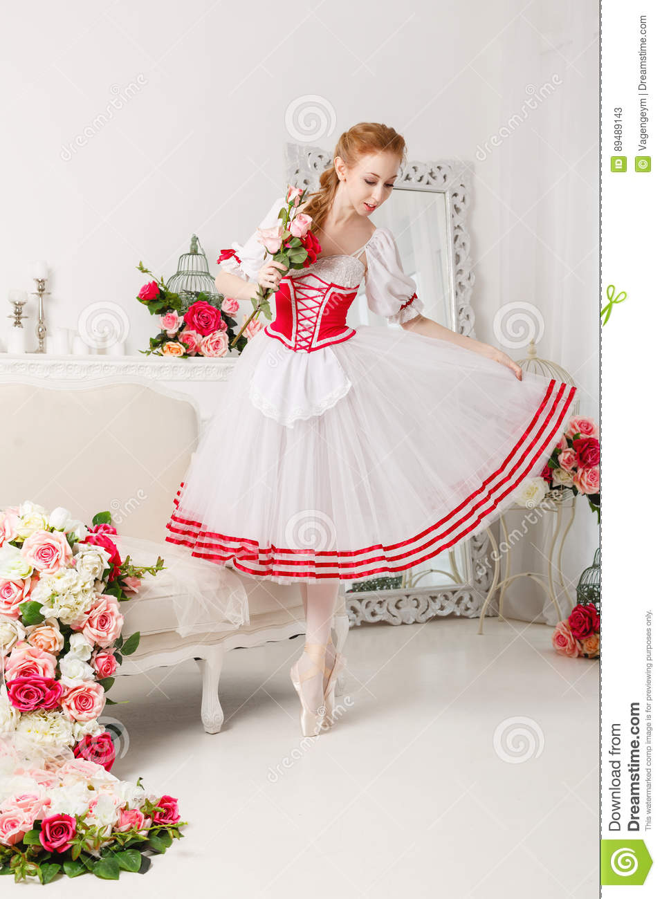 Cute Ballerina Holding Flowers Stock Image Image Of Jump Girl