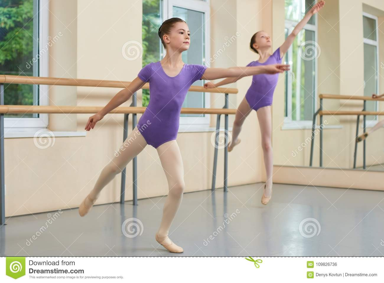 bb869542859b Cute Ballet Girl Dancing In Studio. Stock Photo - Image of lifestyle ...