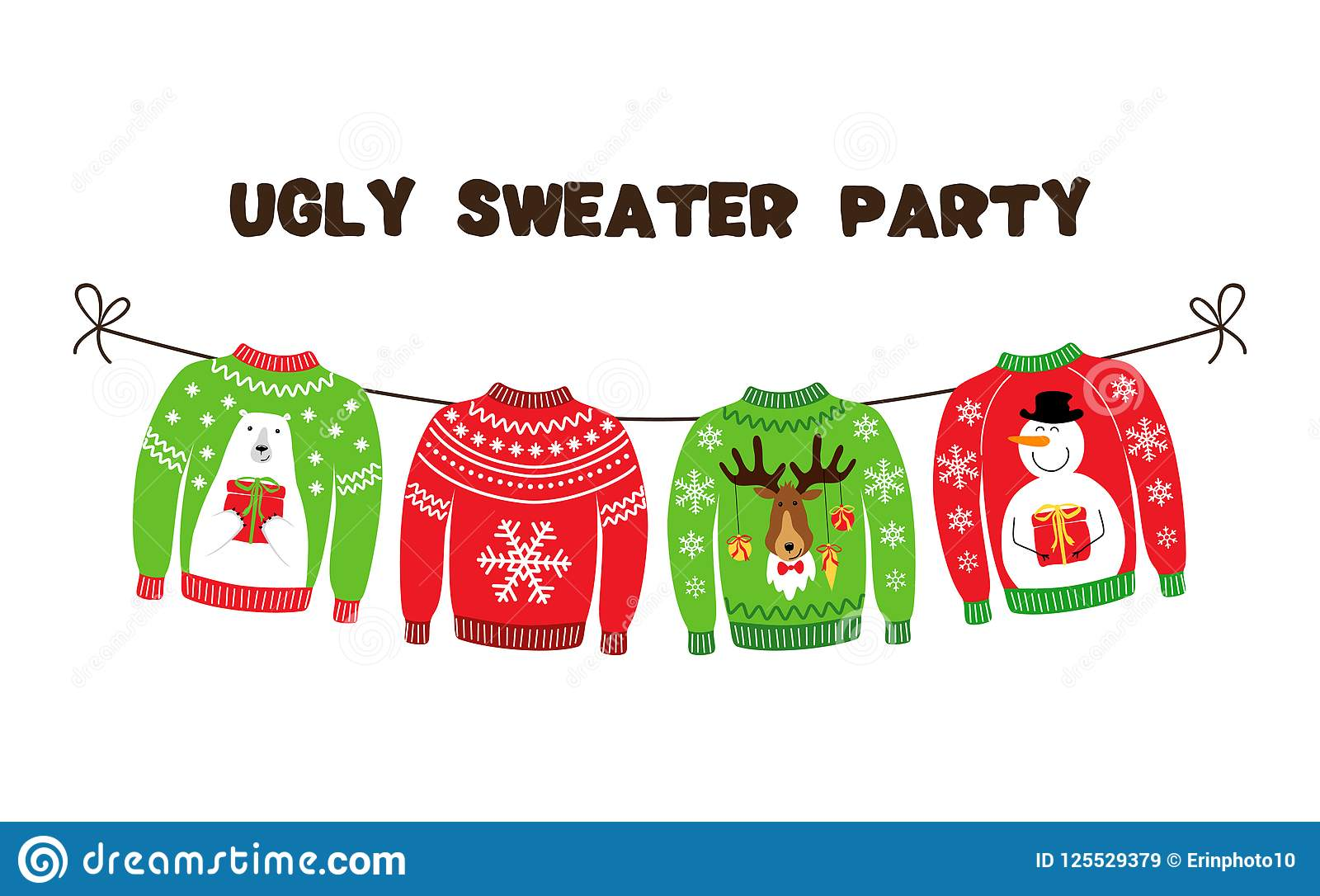 Cute Banner For Ugly Sweater Christmas Party Stock Vector ...