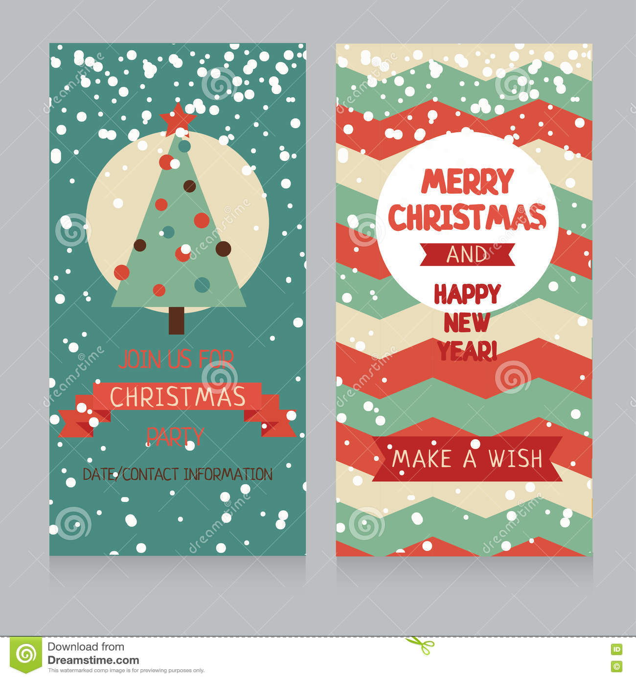 Cute Christmas Party.Cute Banners For Christmas Party In Retro Palette Stock