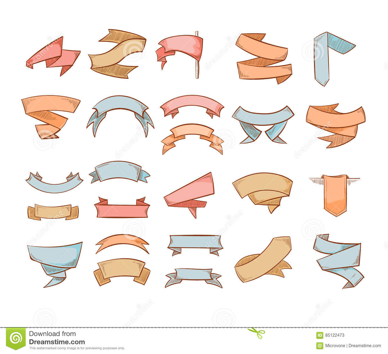 cute banners sketched ribbons tags doodle vector set stock vector