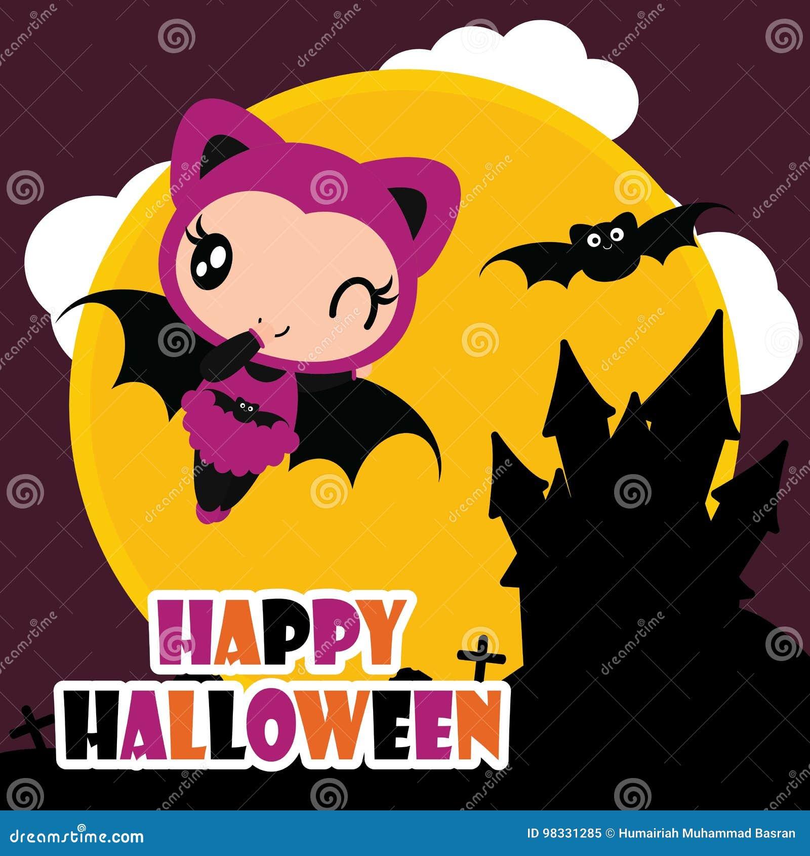 Cute Bat Girl Fly With Black Bat Cartoon Illustration For Halloween