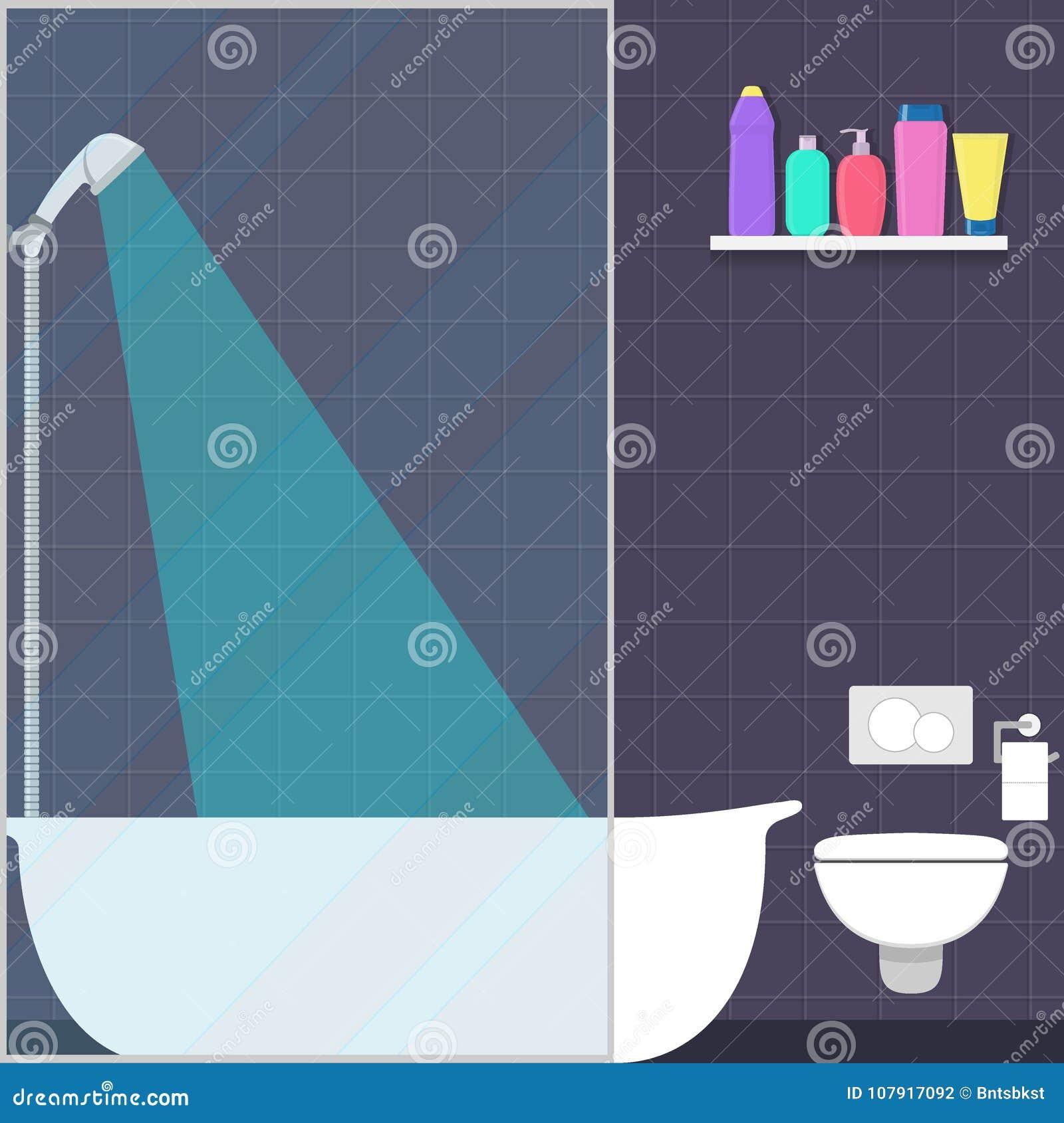 Cute Bathroom In Flat Style Shower, Bath, Shelf With Soap, Shampoo ...