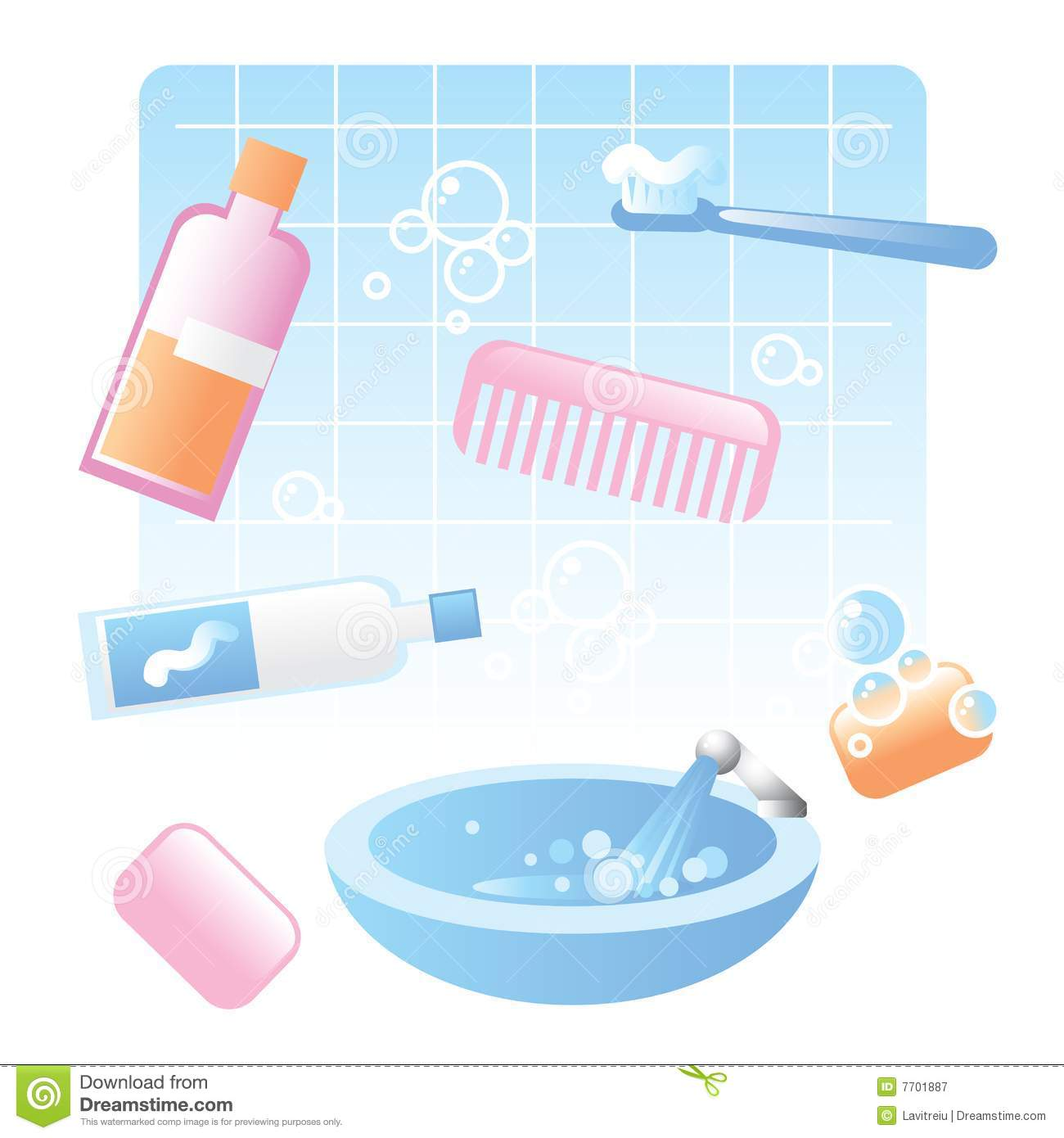 Cute Bathroom Items Royalty Free Stock Photography Image