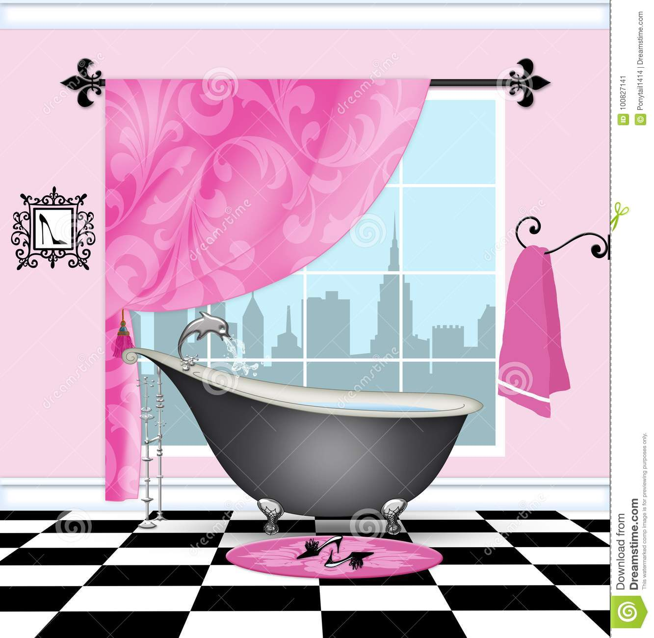 Cute Bathroom With Vintage Claw Foot Tub Stock Illustration