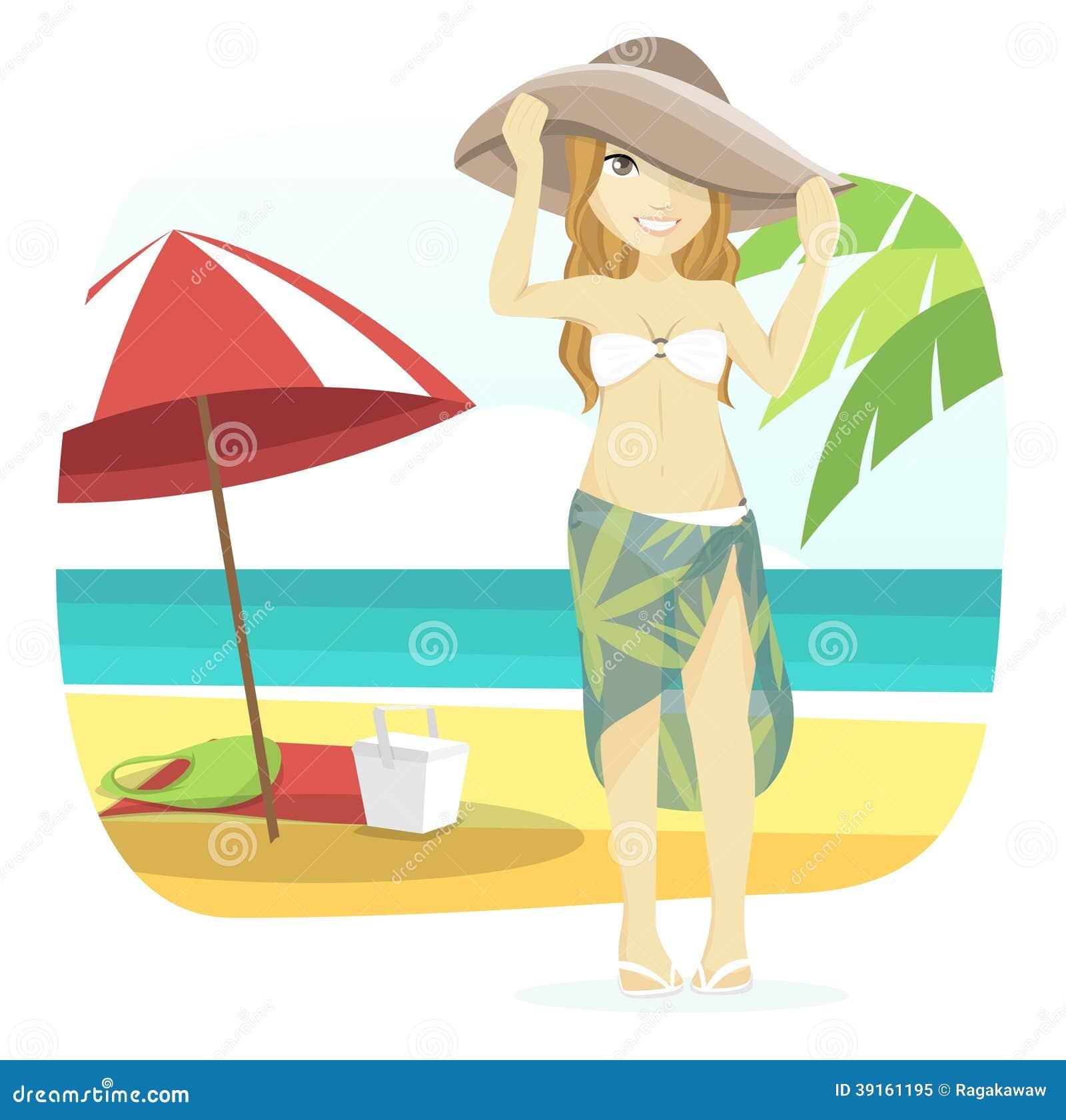 Woman Enjoying At Beach Stock Image Image Of Pleasure: Cute Beach Girl Stock Vector. Illustration Of People