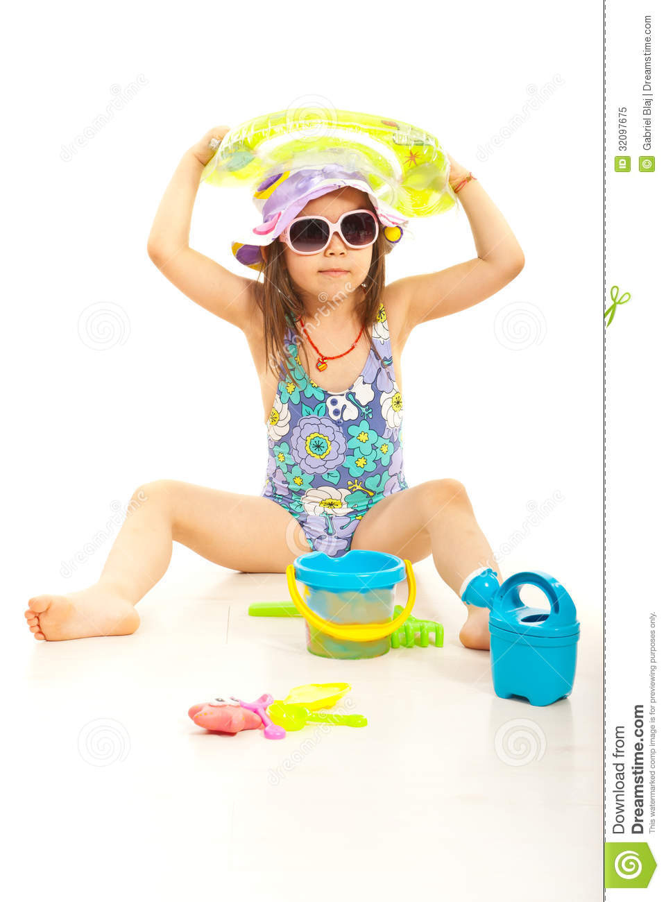 Beach Toys For Girls : Cute beach girl with toys royalty free stock photo image