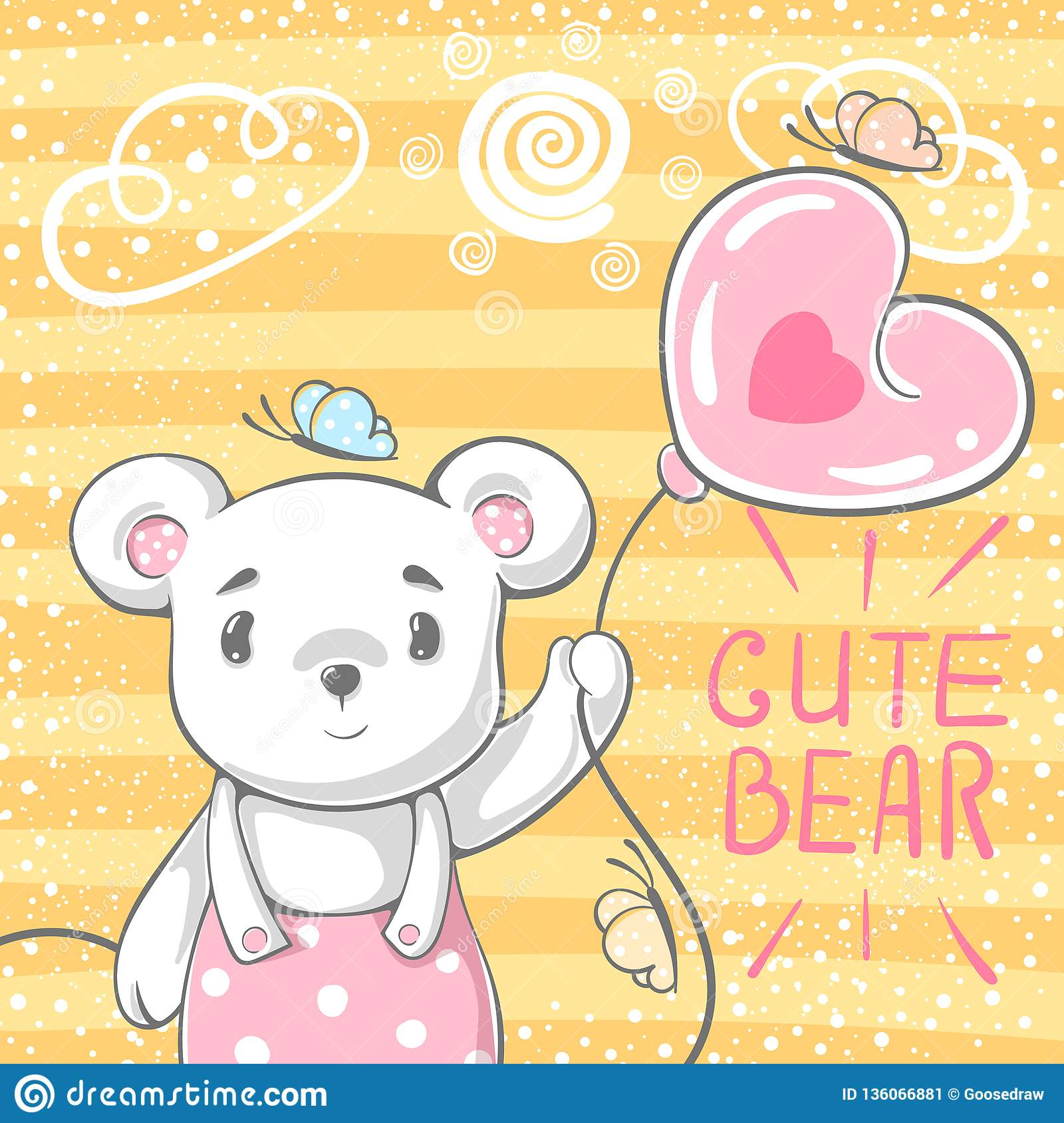 Cute bear with air balloon.