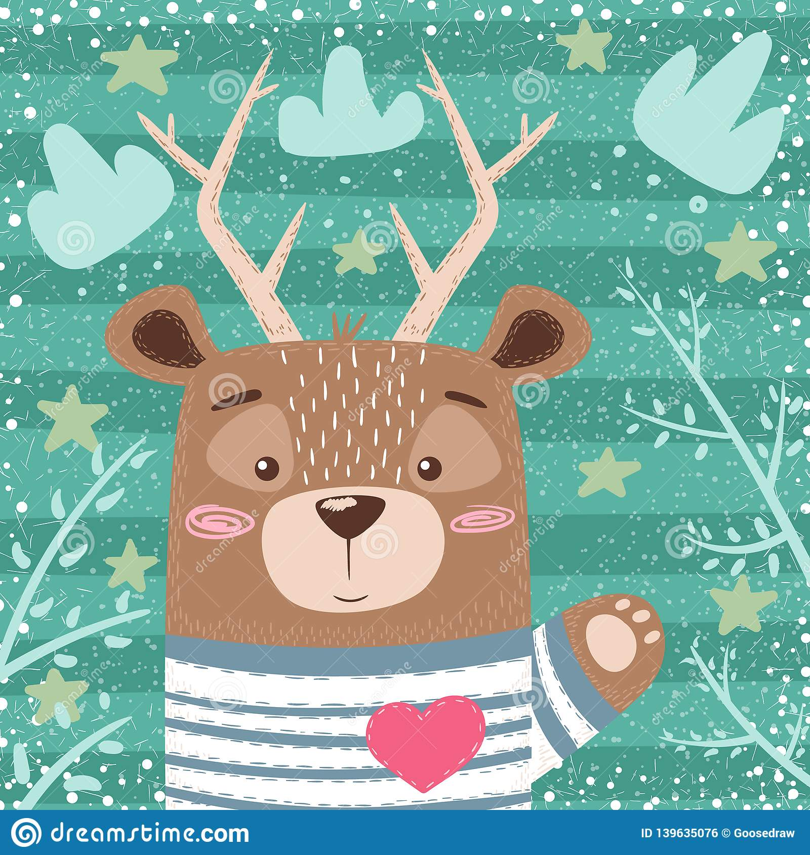 Cute bear, deer cartoon illustration.