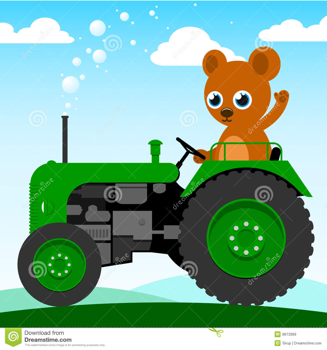 Up The Tractor Green Tractor With Bucket Cartoon : Cute bear driving an old tractor royalty free stock images