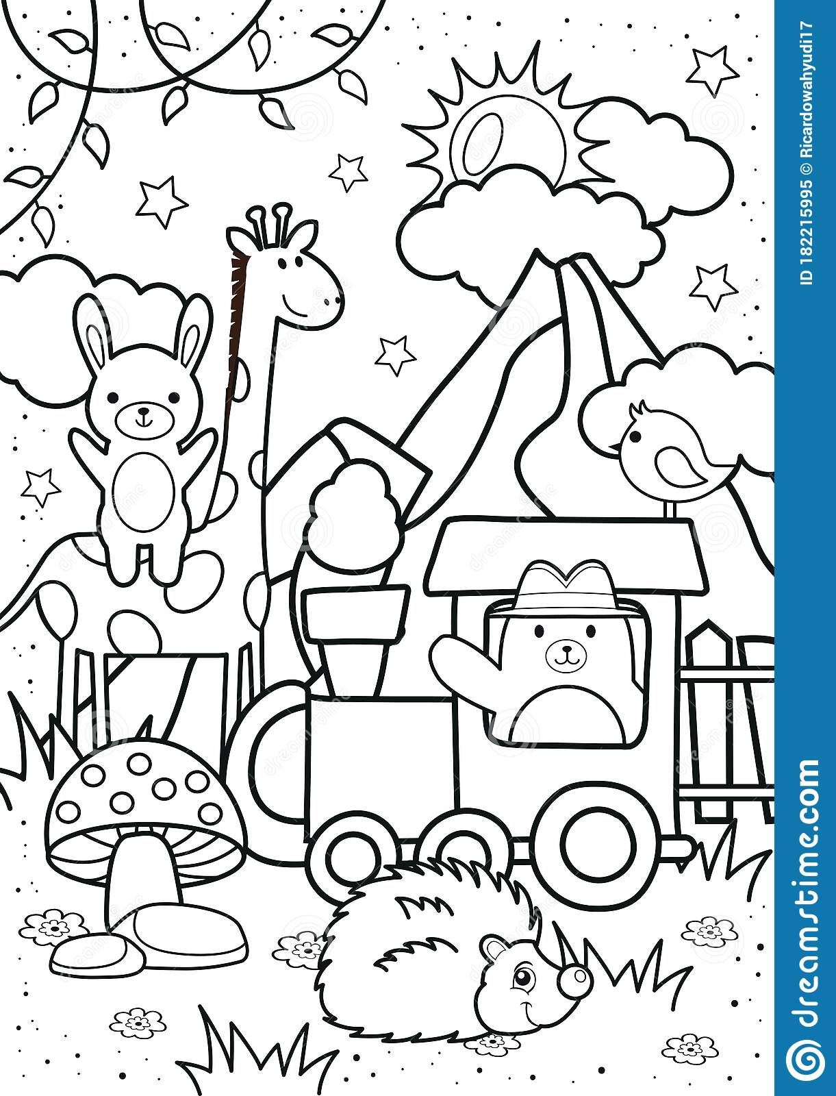 Cute Bear And Friends In The Forest Coloring Pages Stock Vector Illustration Of Baby Black 182215995