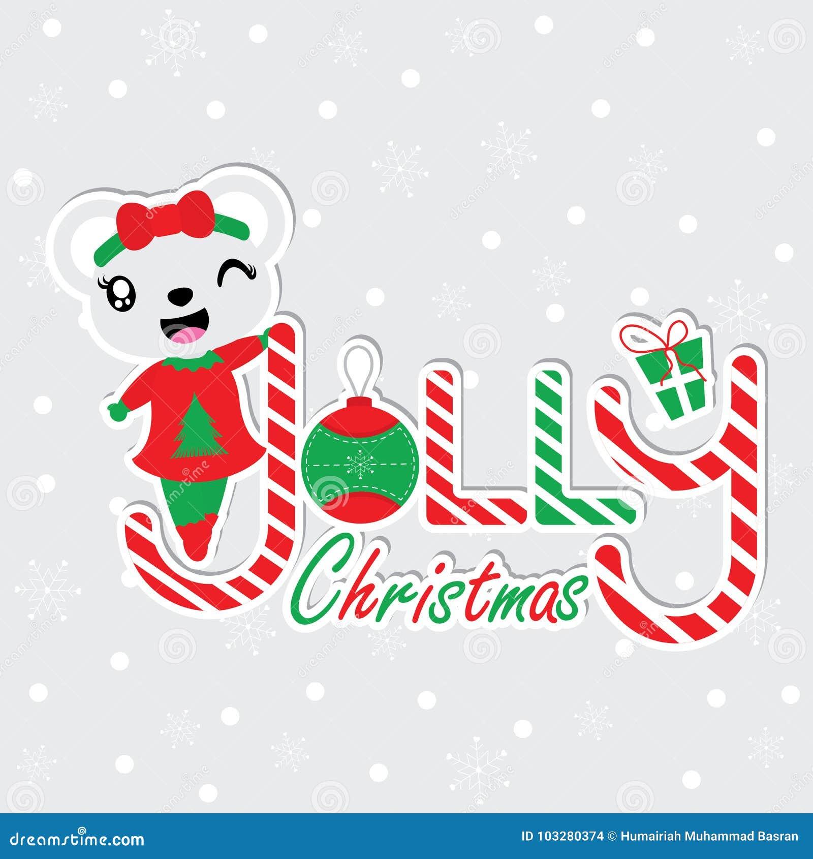 Cute Bear Girl On Jolly Christmas Text Cartoon Illustration For ...