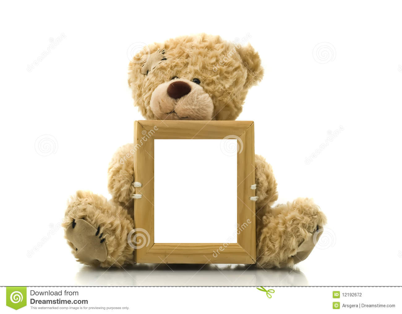 Cute Bear Holding Empty Frame For Picture Or Photo Stock Photo