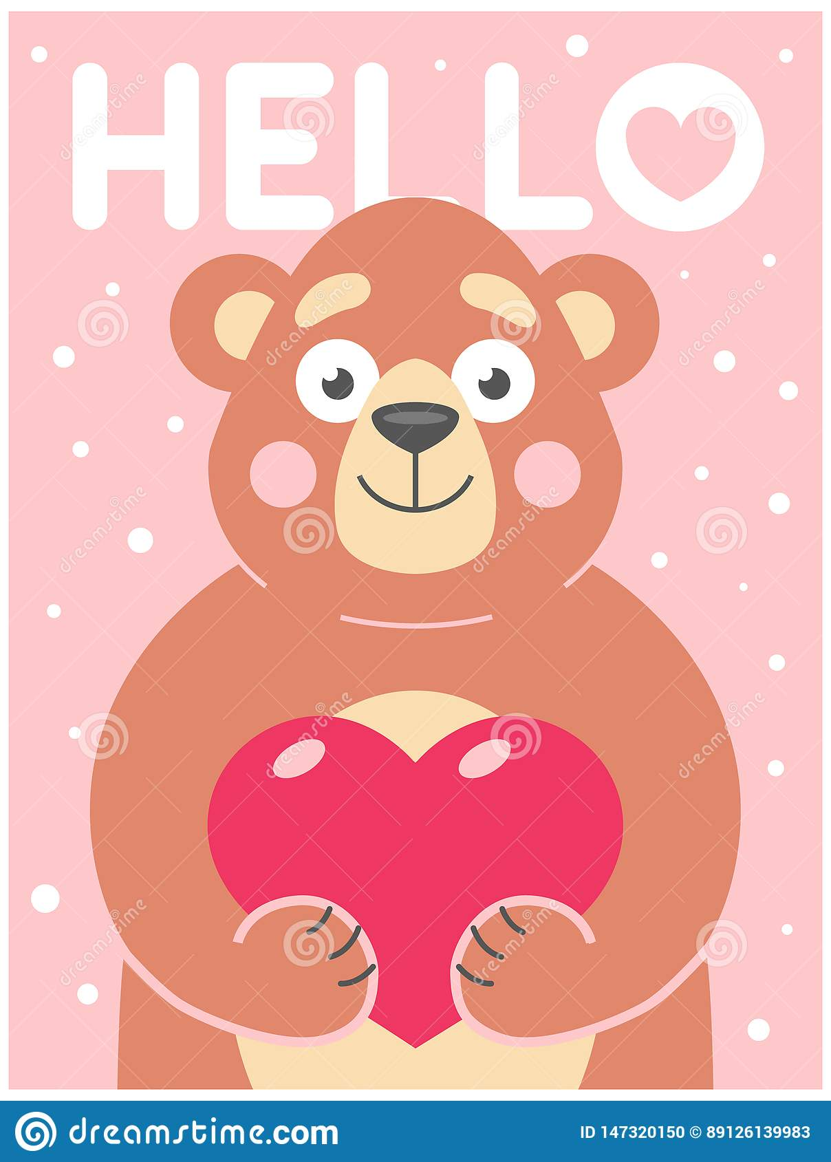 Cute bear holds in his paws a heart on a pink background with snowflakes.