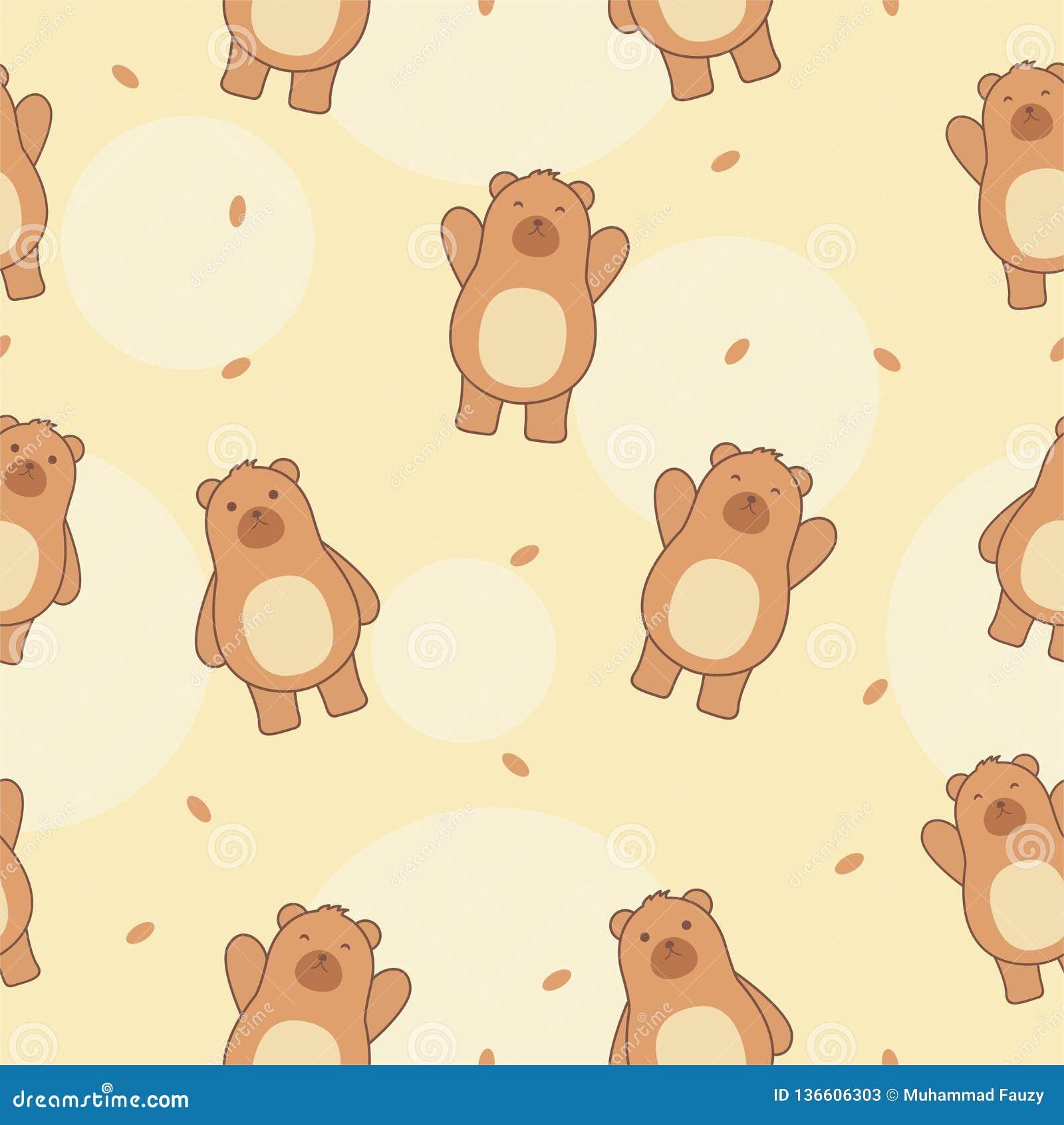 Cute bear seamless pattern vector, cute bear wallpaper