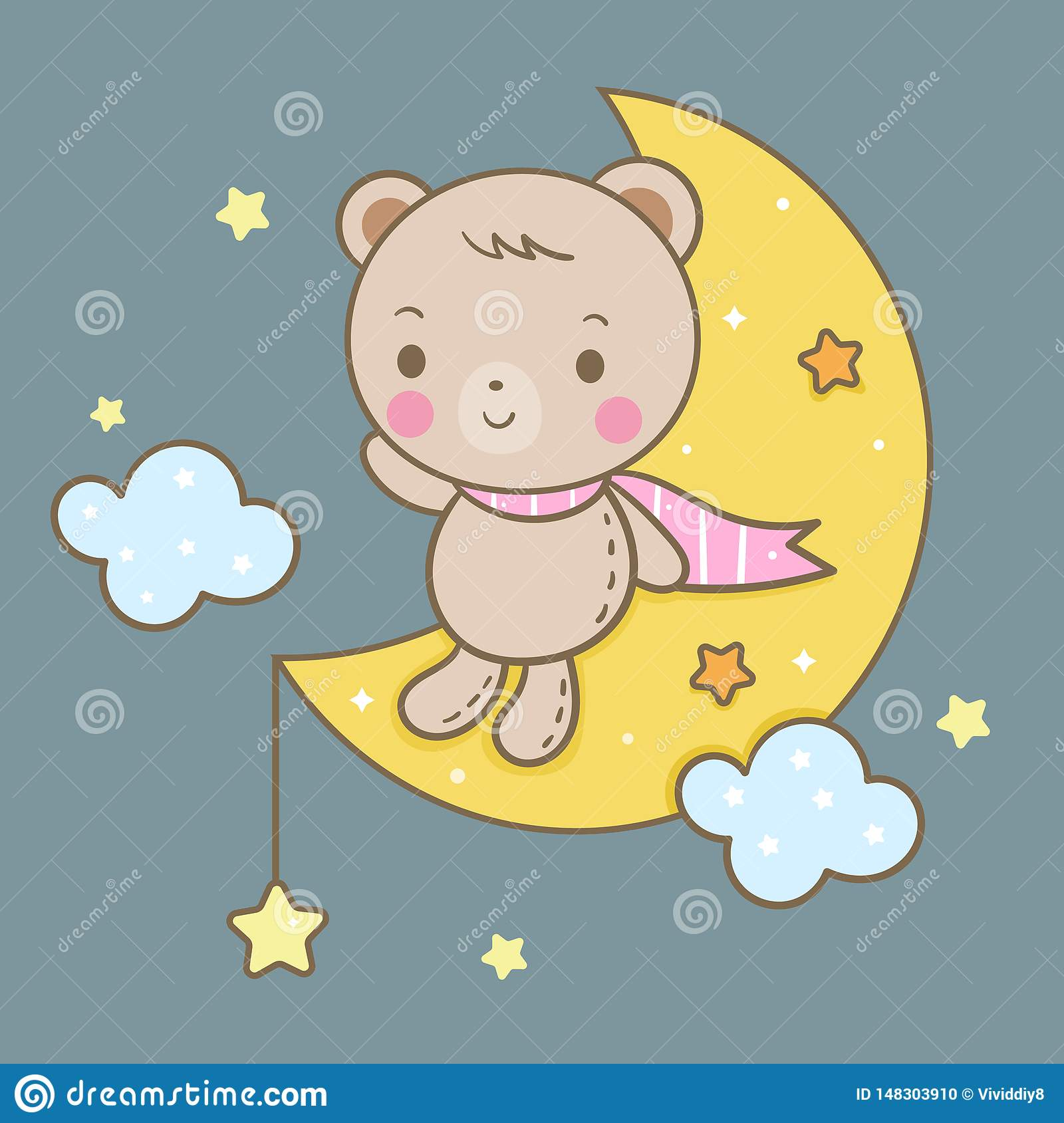 Cute bear vector on moon, magic sleeping time for sweet dream, Kawaii style with star.