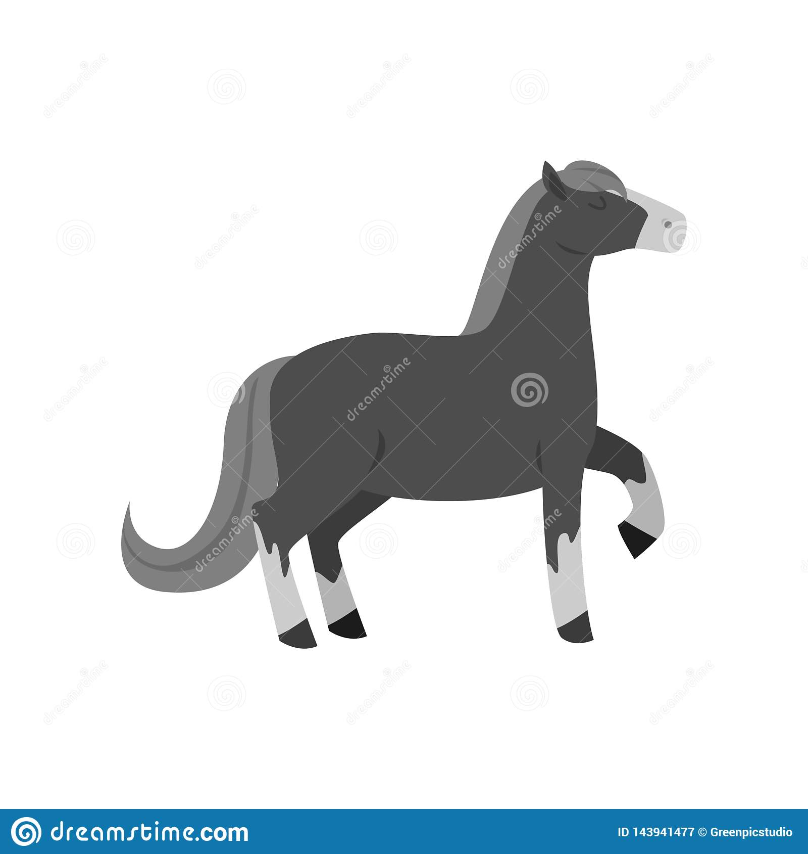 Cute Beautiful Cartoon Horse Graceful Horse Of An Unusual Coloring Stock Vector Illustration Of Arabian Horse 143941477