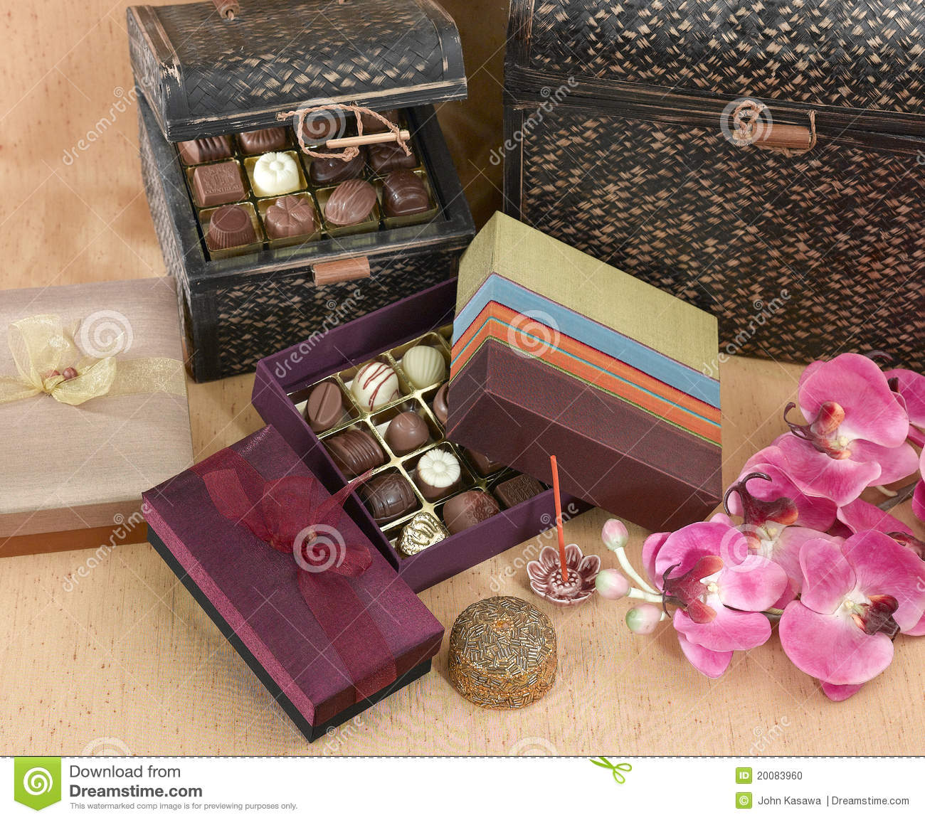 Cute And Beautiful Of Chocolates Boxes Stock Photo Image Of Brown