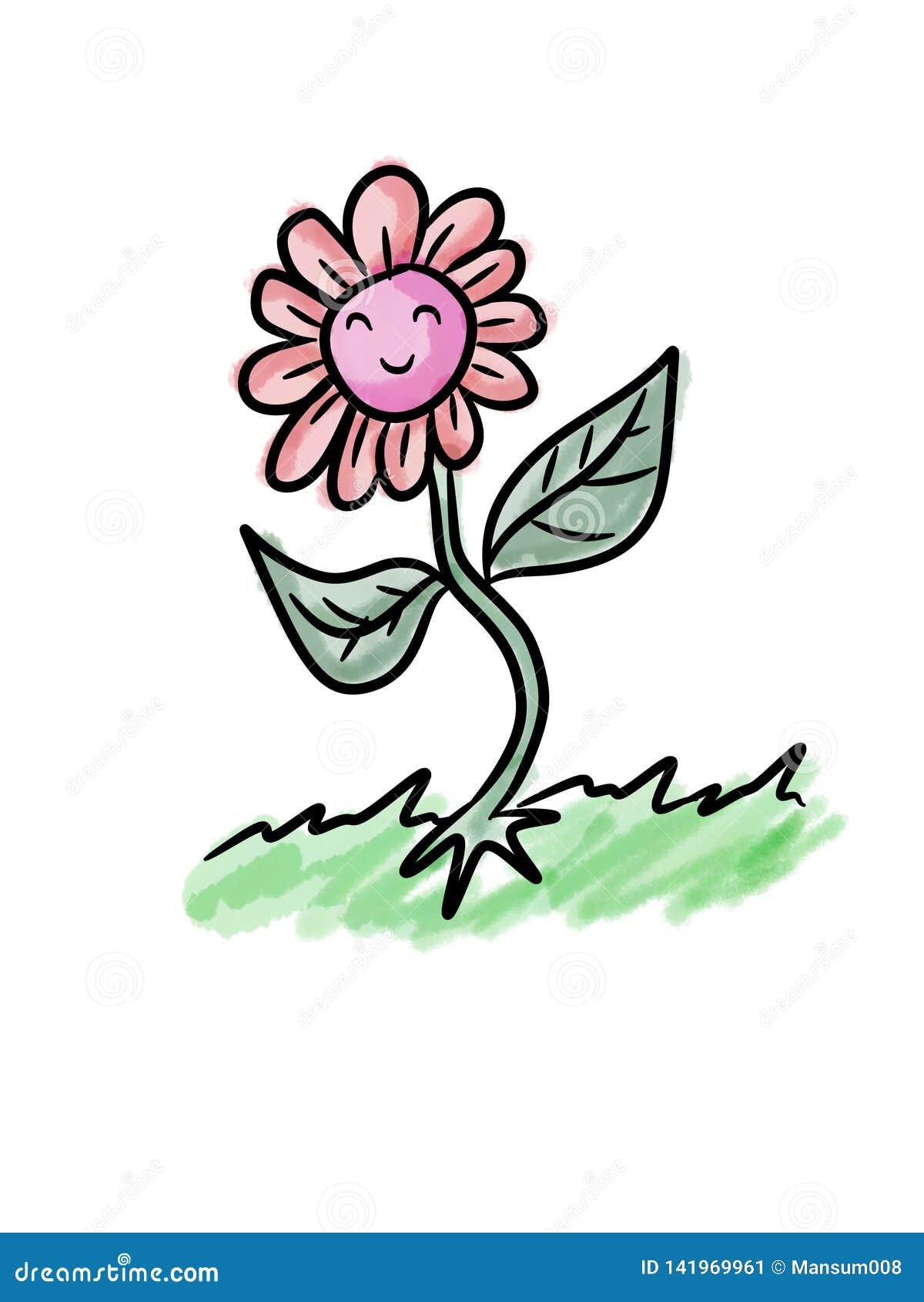 Cute Beautiful Flower Cartoon Stock Illustration