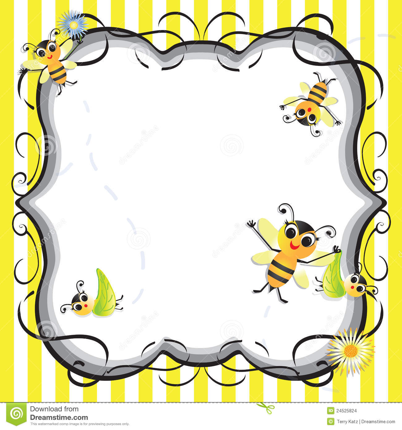 Cute Bee Baby Shower Party Invitation Stock Vector
