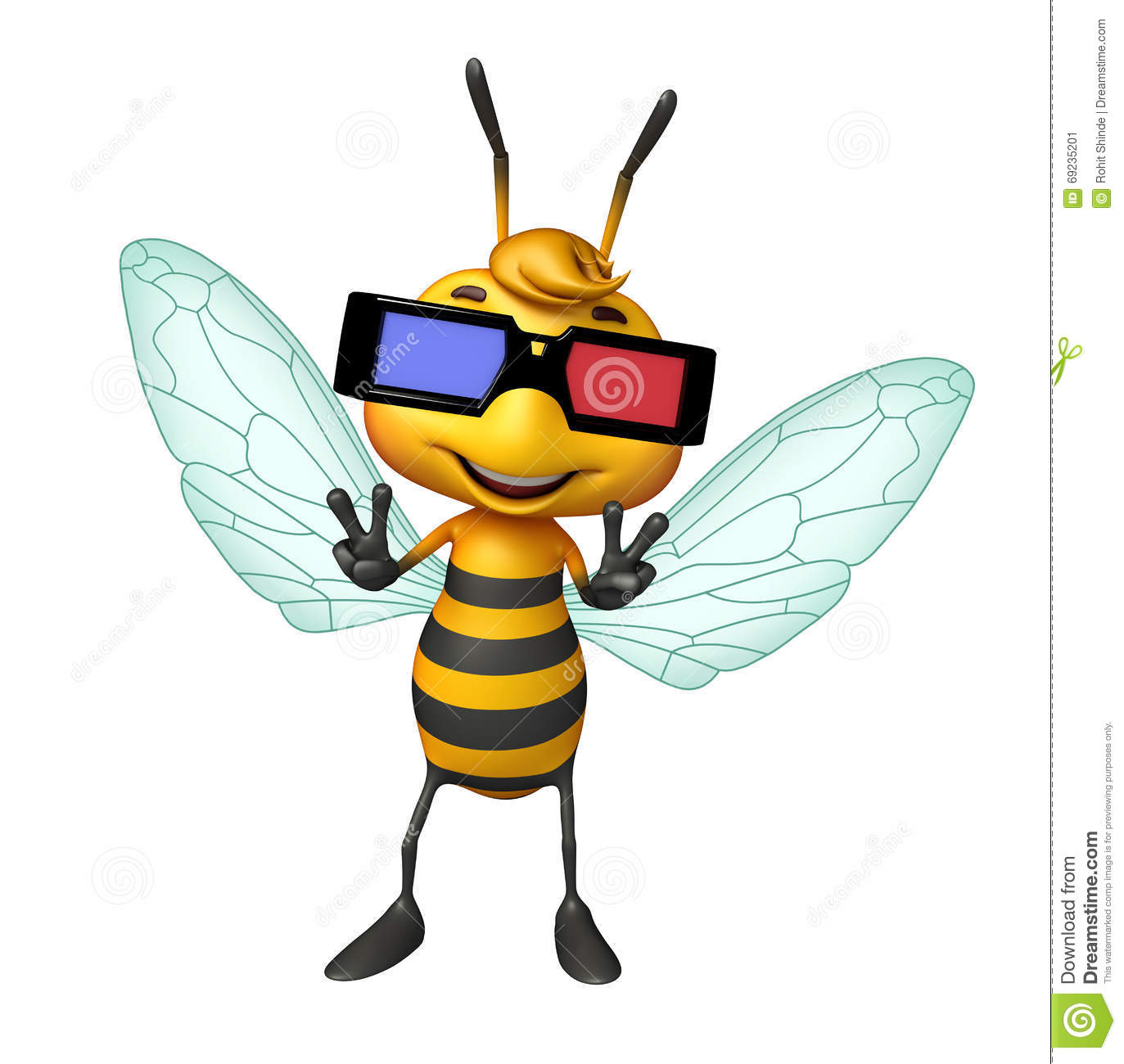 Cute Bee Cartoon Character With 3D Glasses Stock ...