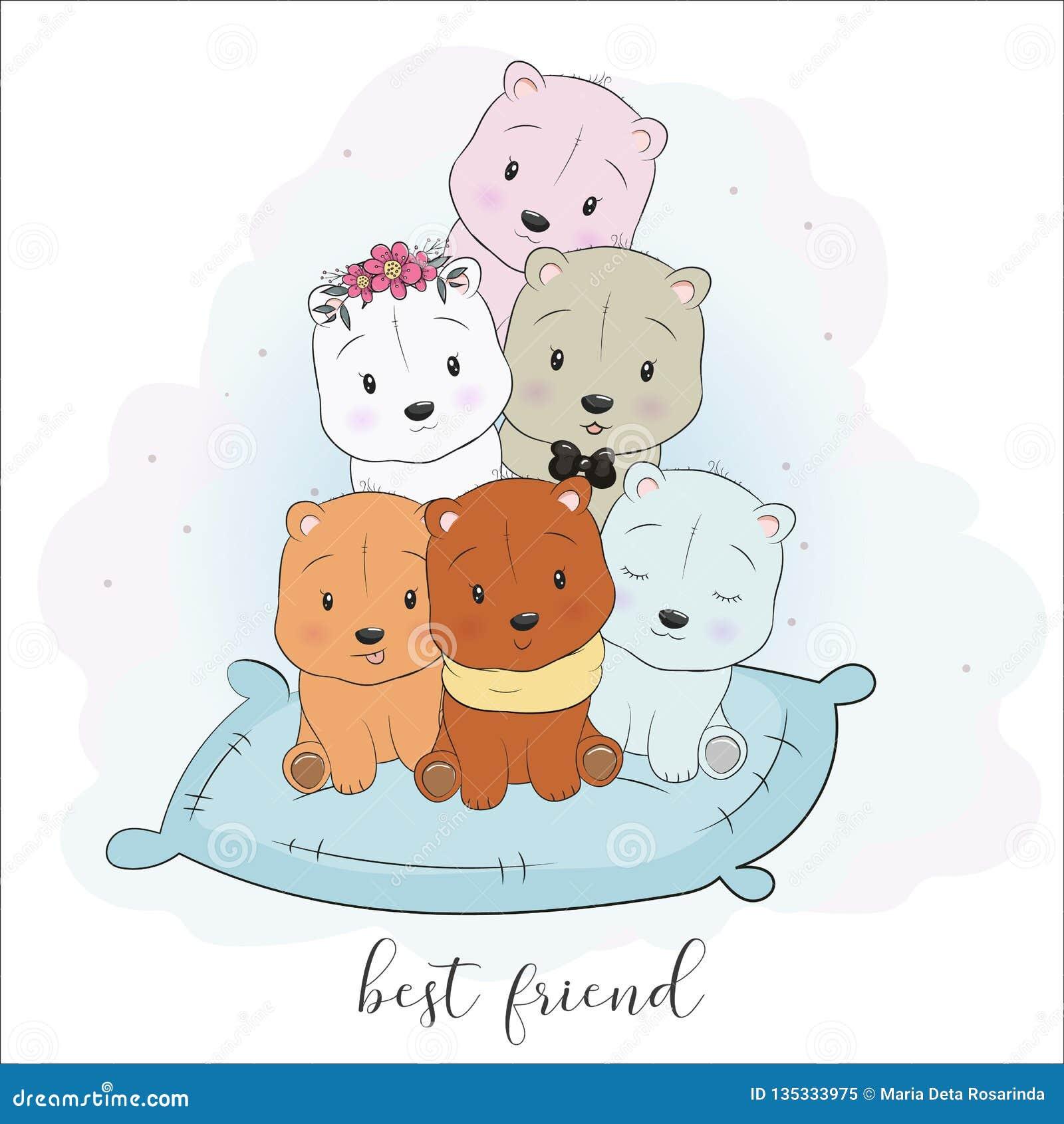 Cute Best Friend Cartoon Animals Hand Drawing Style Stock Vector