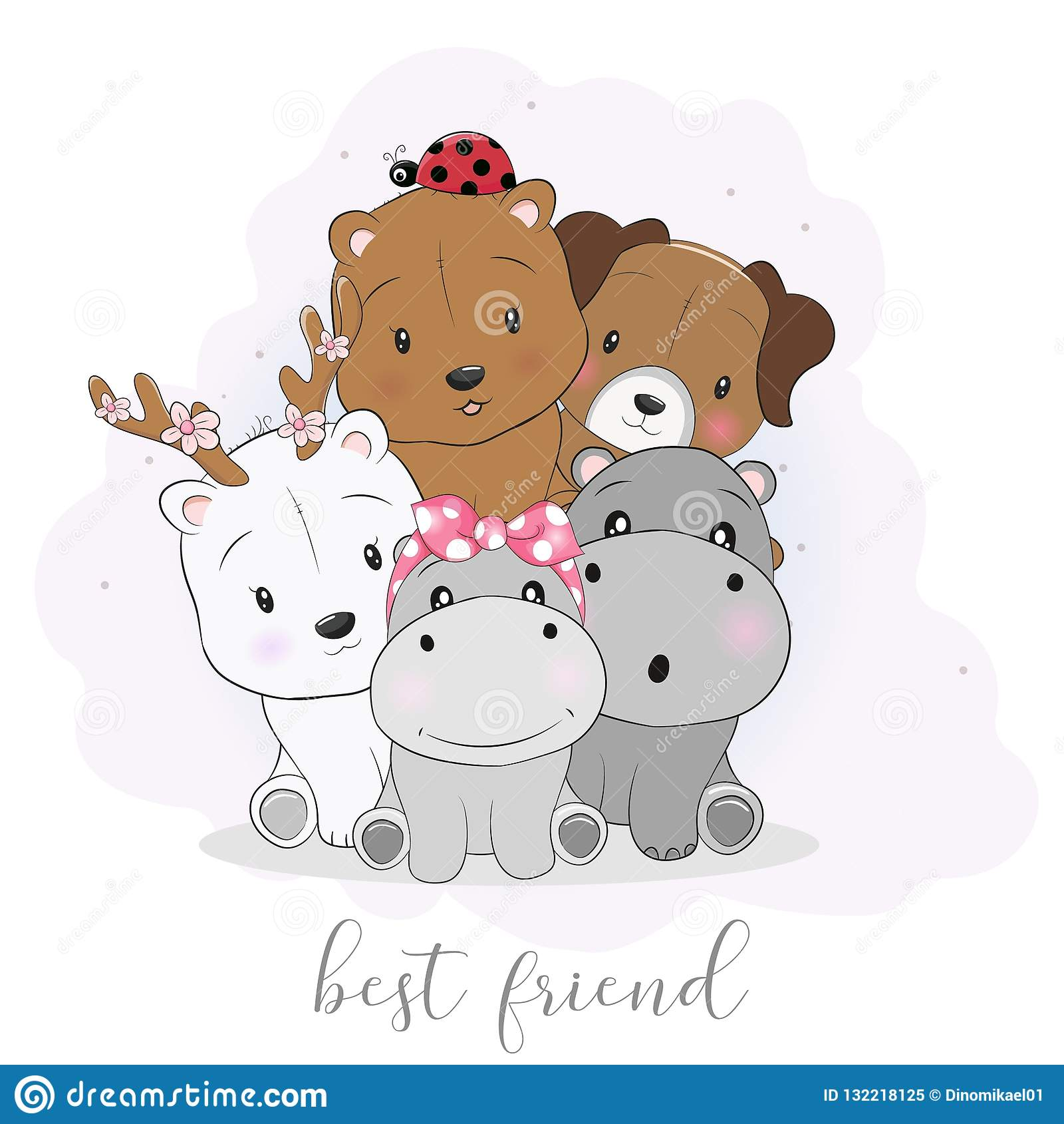 Cute Best Friend Cartoon Animals Stock Vector Illustration Of Care