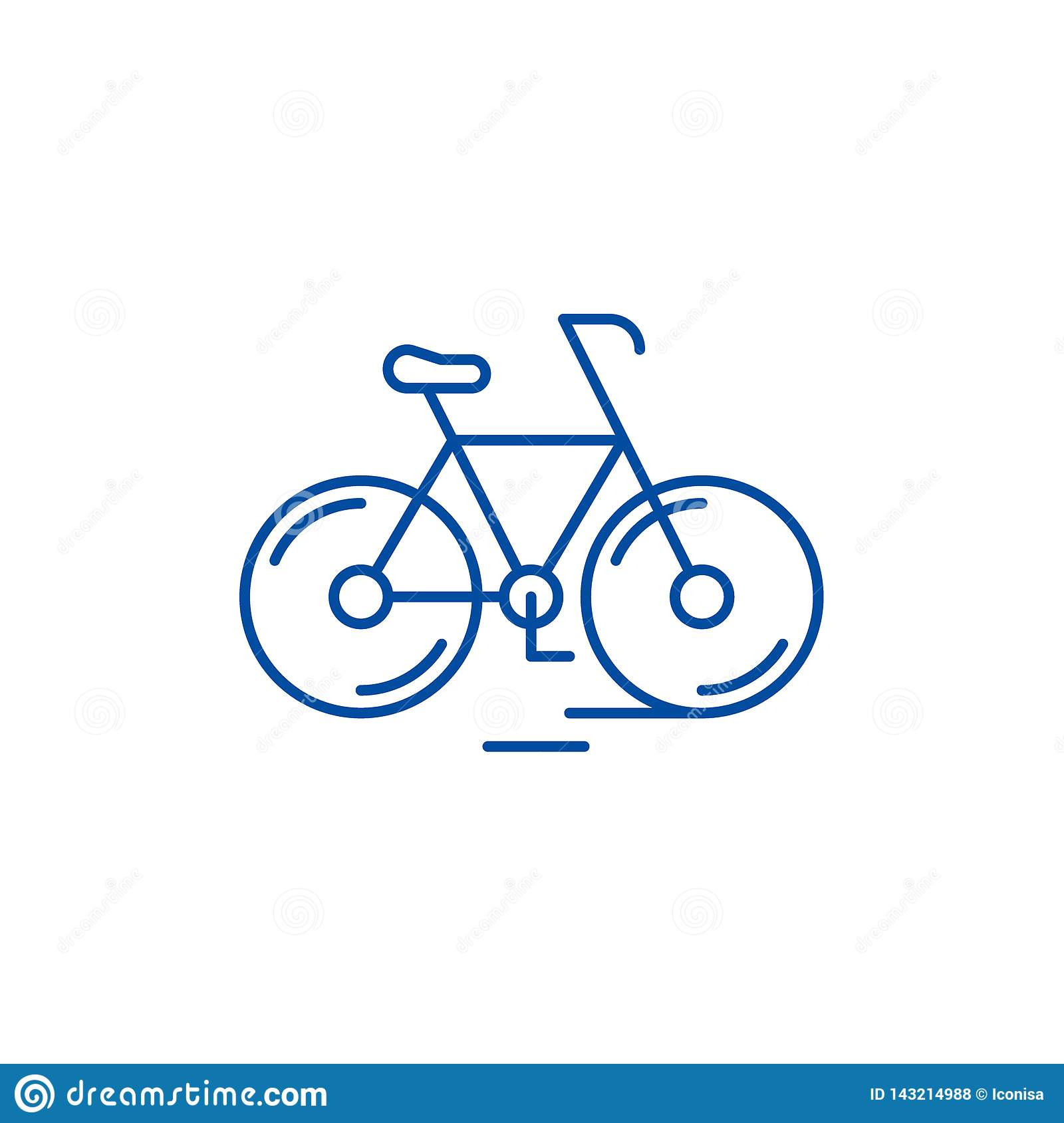 Cute bicycle line icon concept. Cute bicycle flat vector symbol, sign, outline illustration.