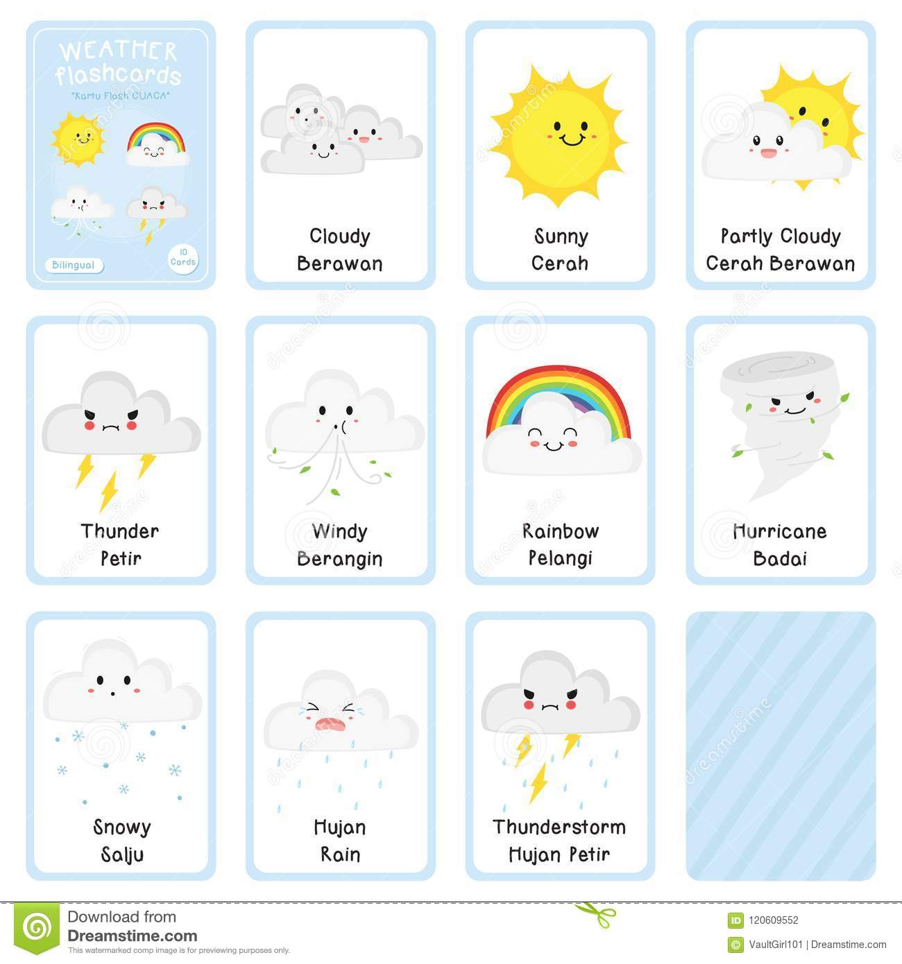 photograph relating to Printable Weather referred to as Lovely Bilingual Climate Flashcard Vector Style and design Inventory Vector