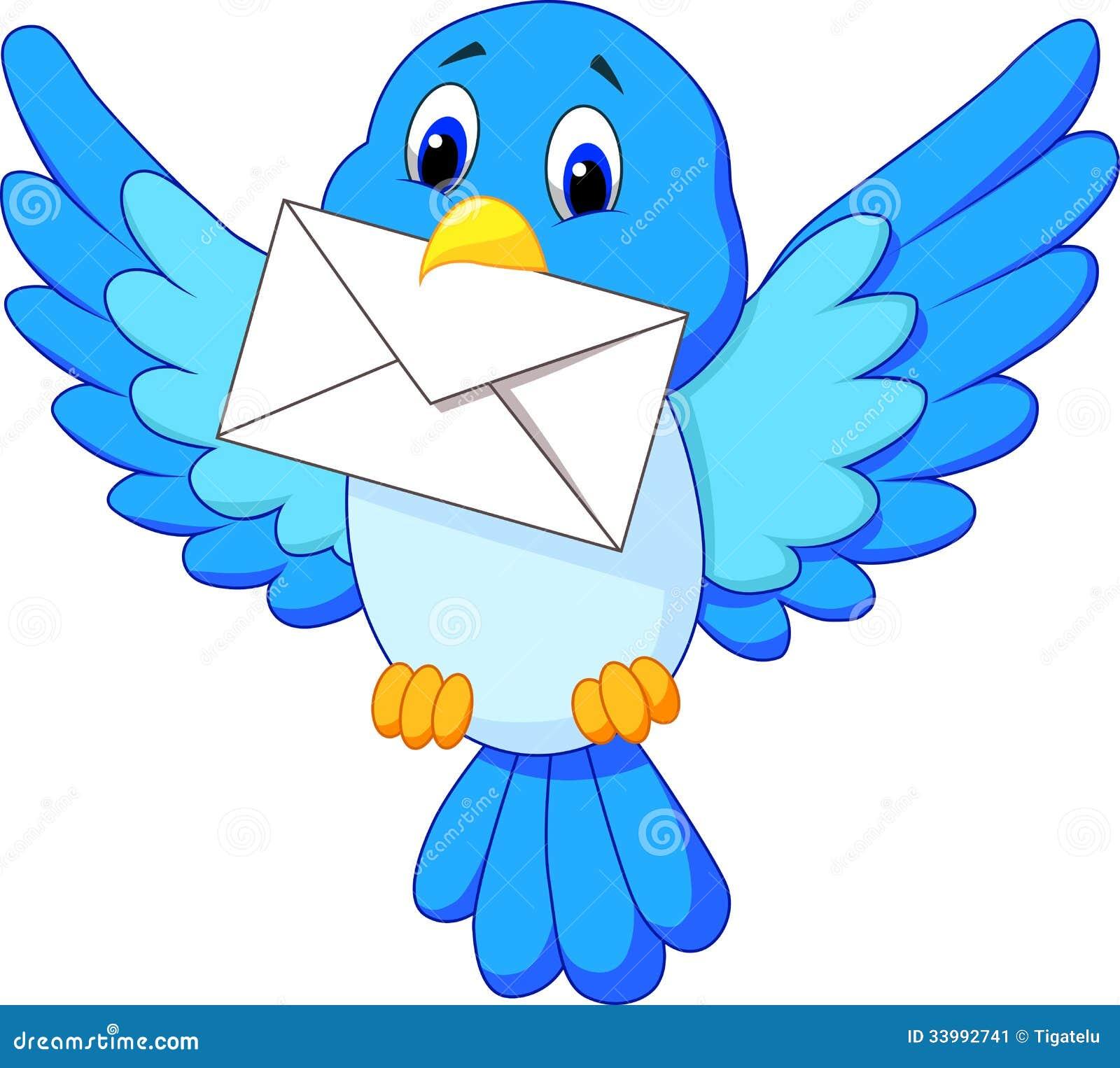 Cute Bird Cartoon Delivering Letter Illustration 33992741 Megapixl