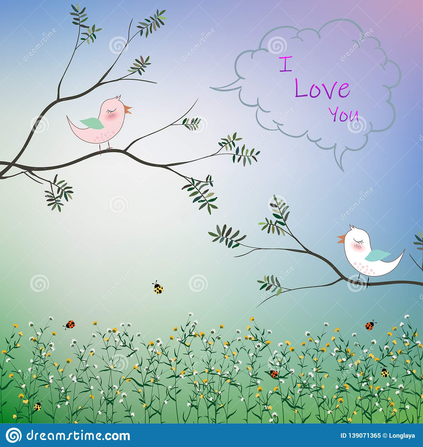 Cute bird couple fall in love in the garden for romantic Valentine`s day,greeting card,kid product,t-shirt,print or textile