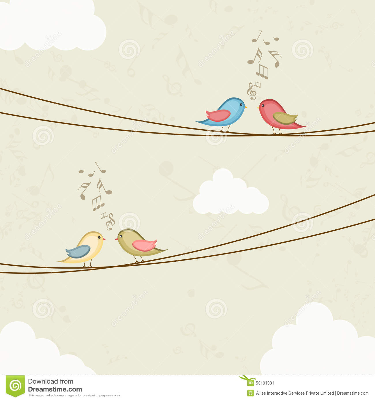 Tune Up Prices >> Cute Bird Couples With Musical Notes. Stock Illustration - Image: 53191331