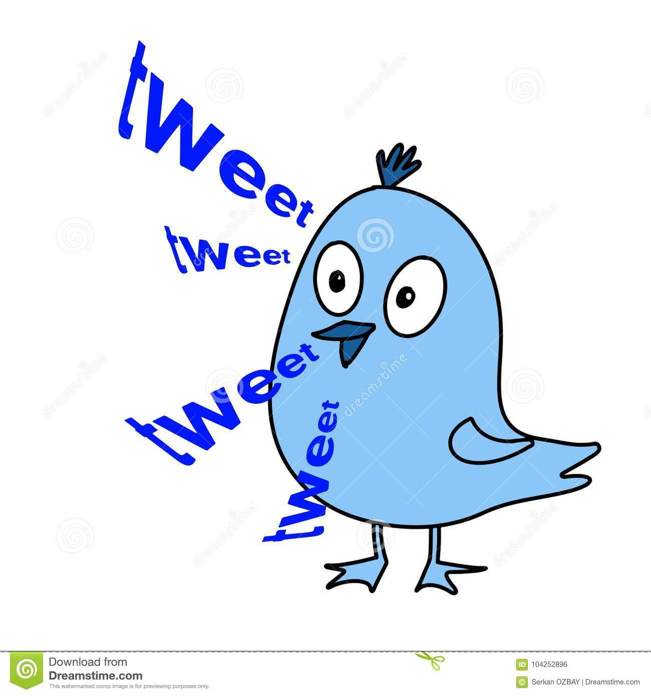 Cute Bird Drawing Tweet And White Background Stock