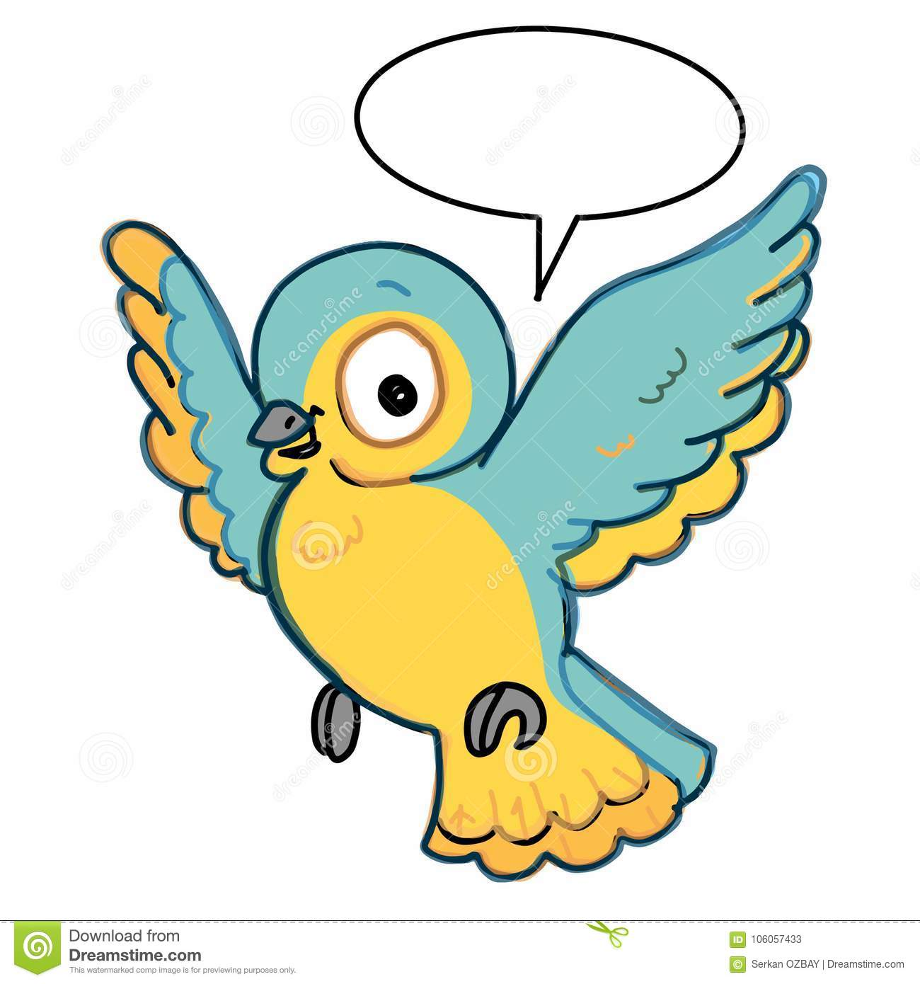 Cute Bird Flying Illustration Drawing Color Blue And Yellow