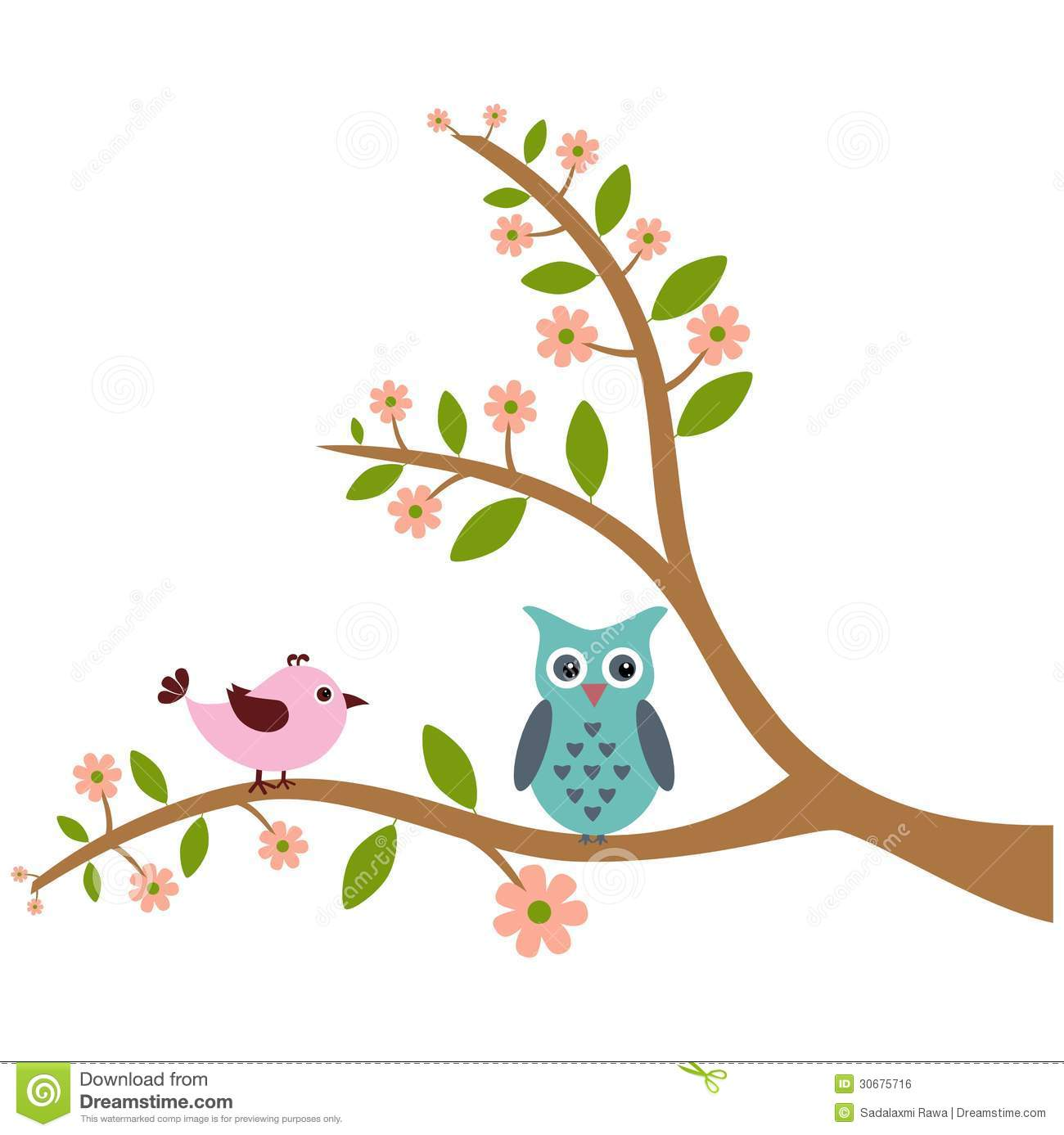 ... And Owl With Tree Pattern Royalty Free Stock Image - Image: 30675716