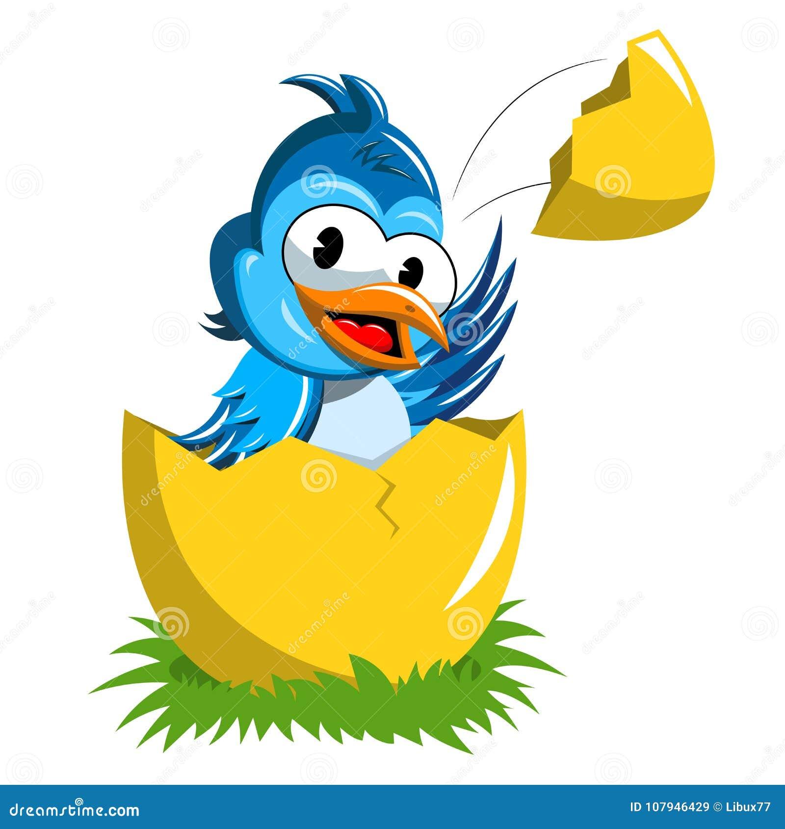 Cute bird popping up broken egg isolated