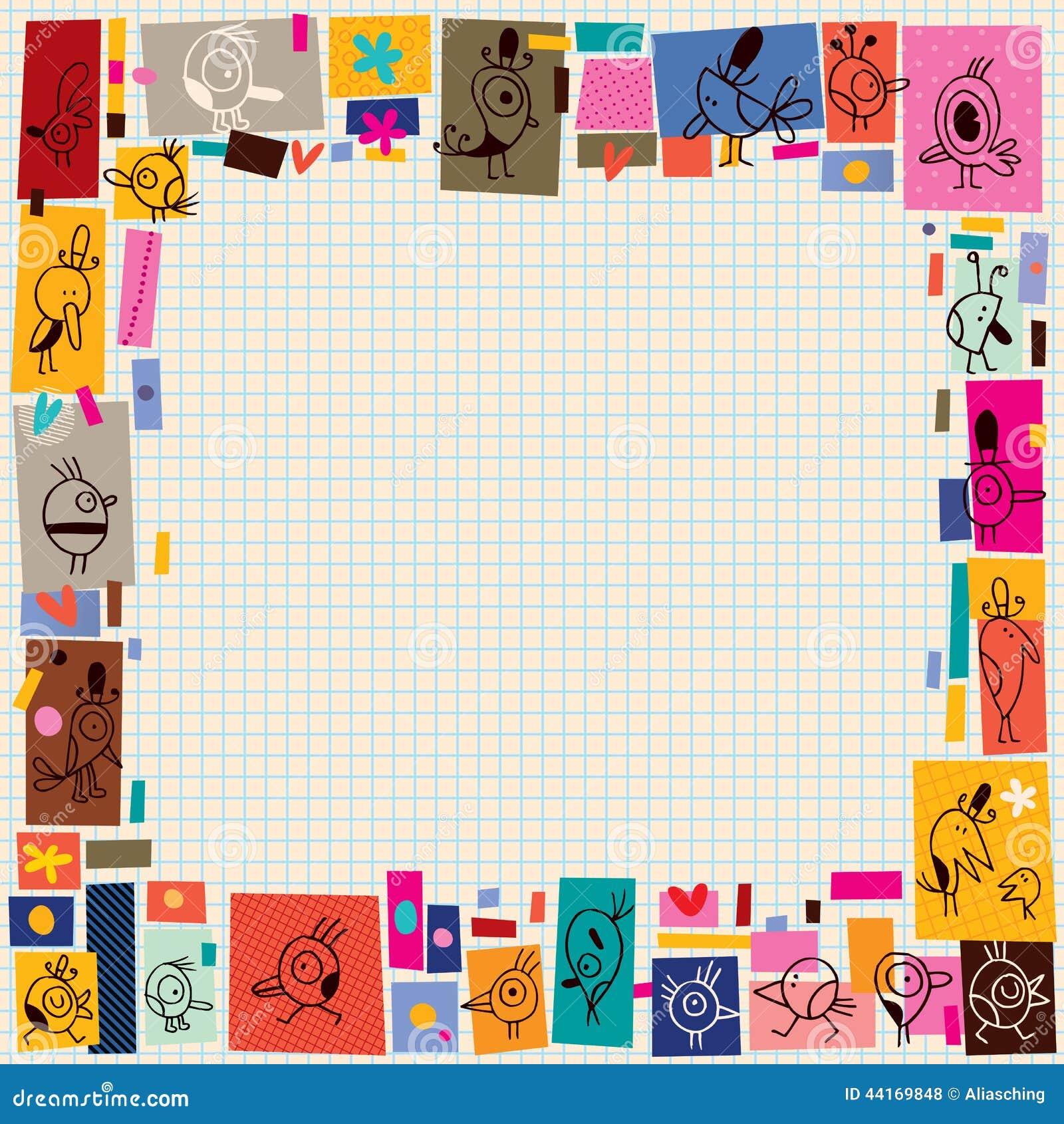 Cartoon Character Border Design : Cute birds collage cartoon doodle border stock vector
