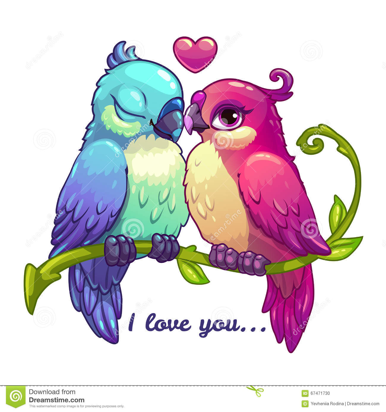 Cute cartoon love birds - photo#9